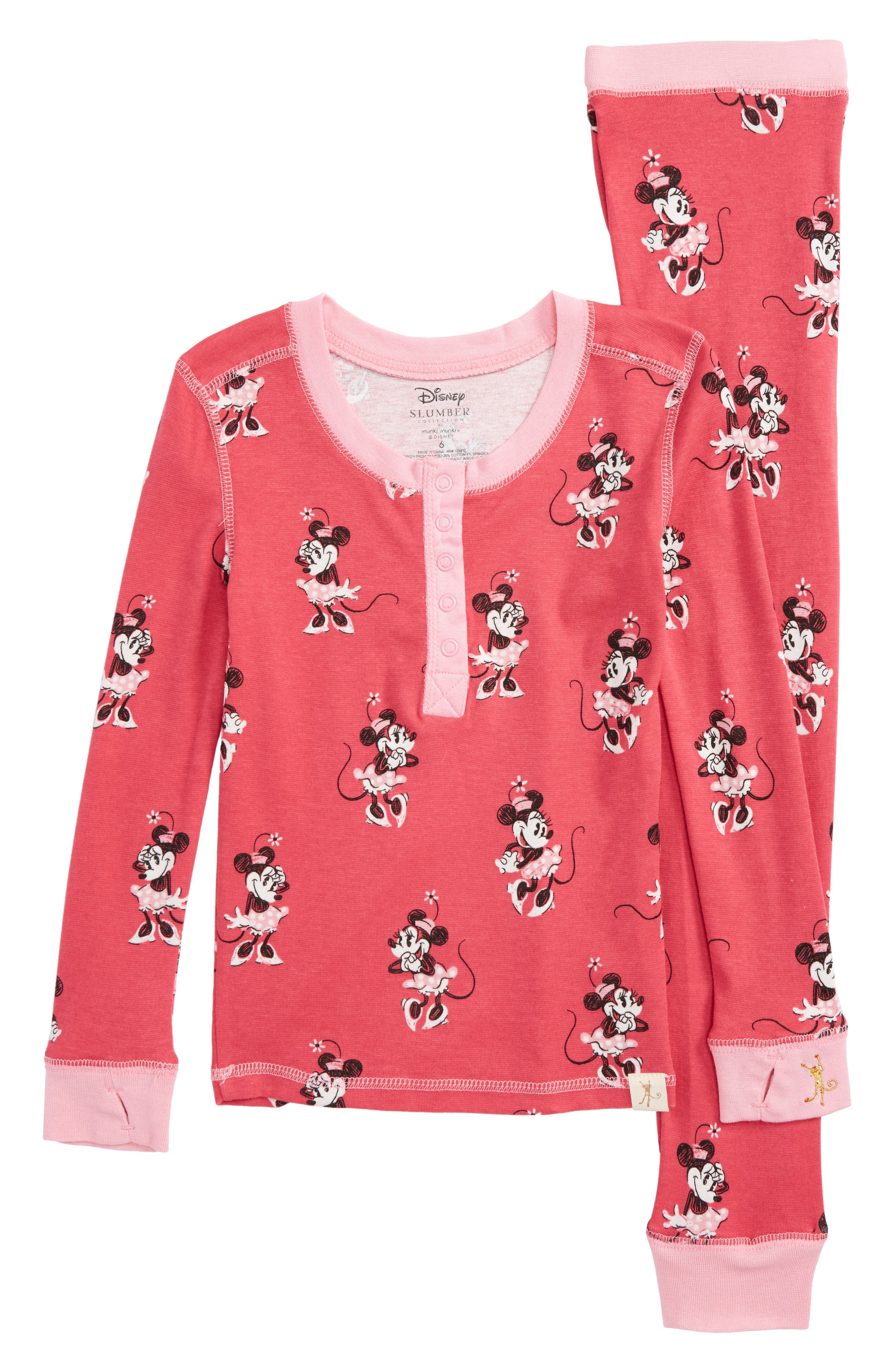 Disney – Minnie Mouse Fitted Two-Piece Pajamas,                             Main thumbnail 1, color,