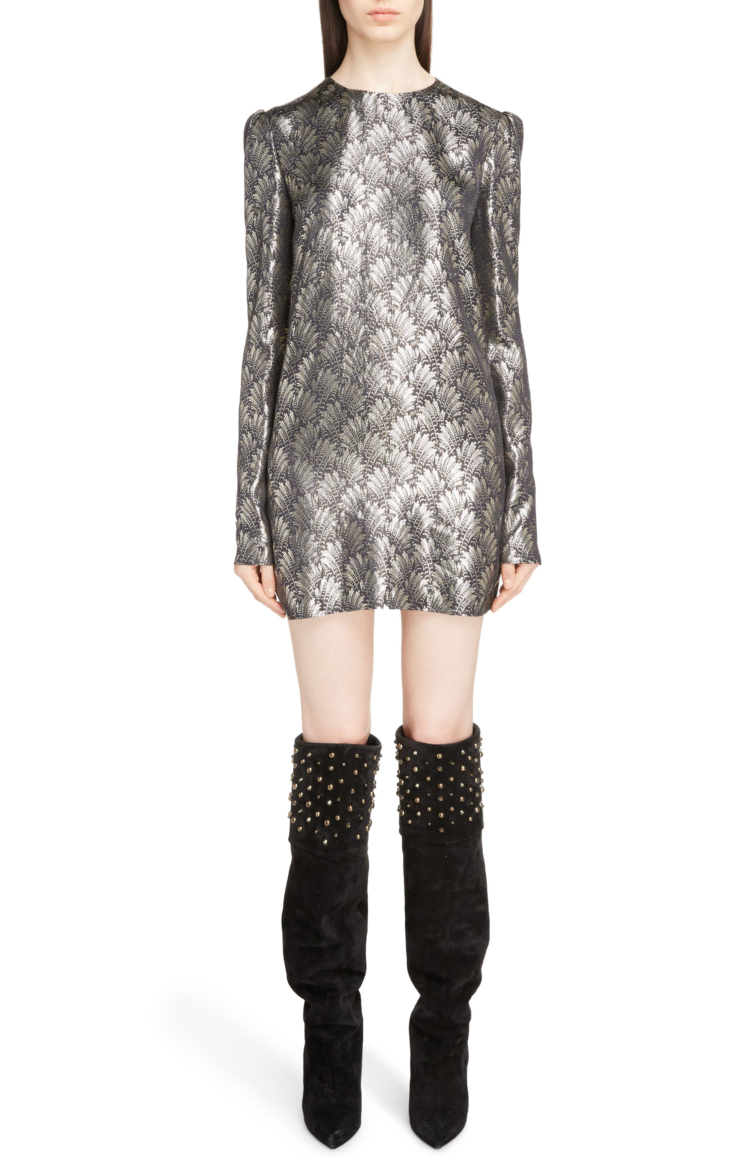Metallic Jacquard Shift Dress,                         Main,                         color, 017