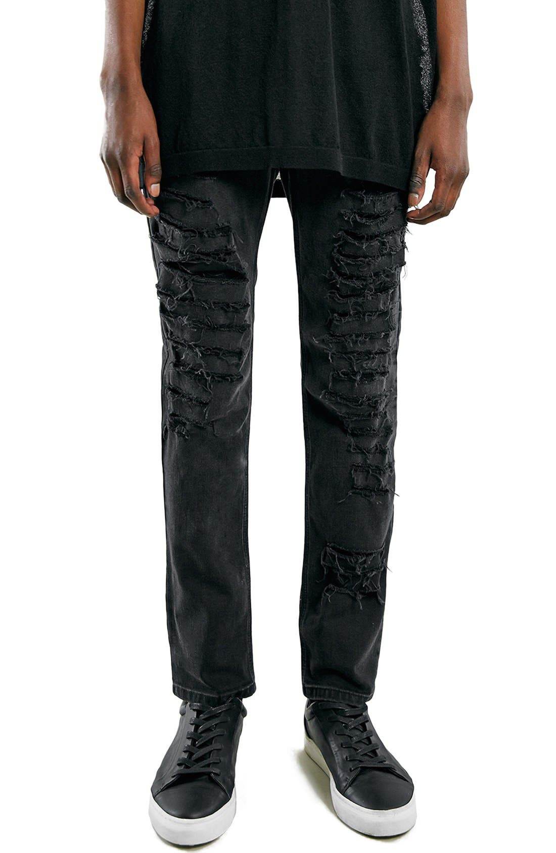 'AAA Collection' Shredded Stretch Skinny Fit Jeans,                         Main,                         color, 001