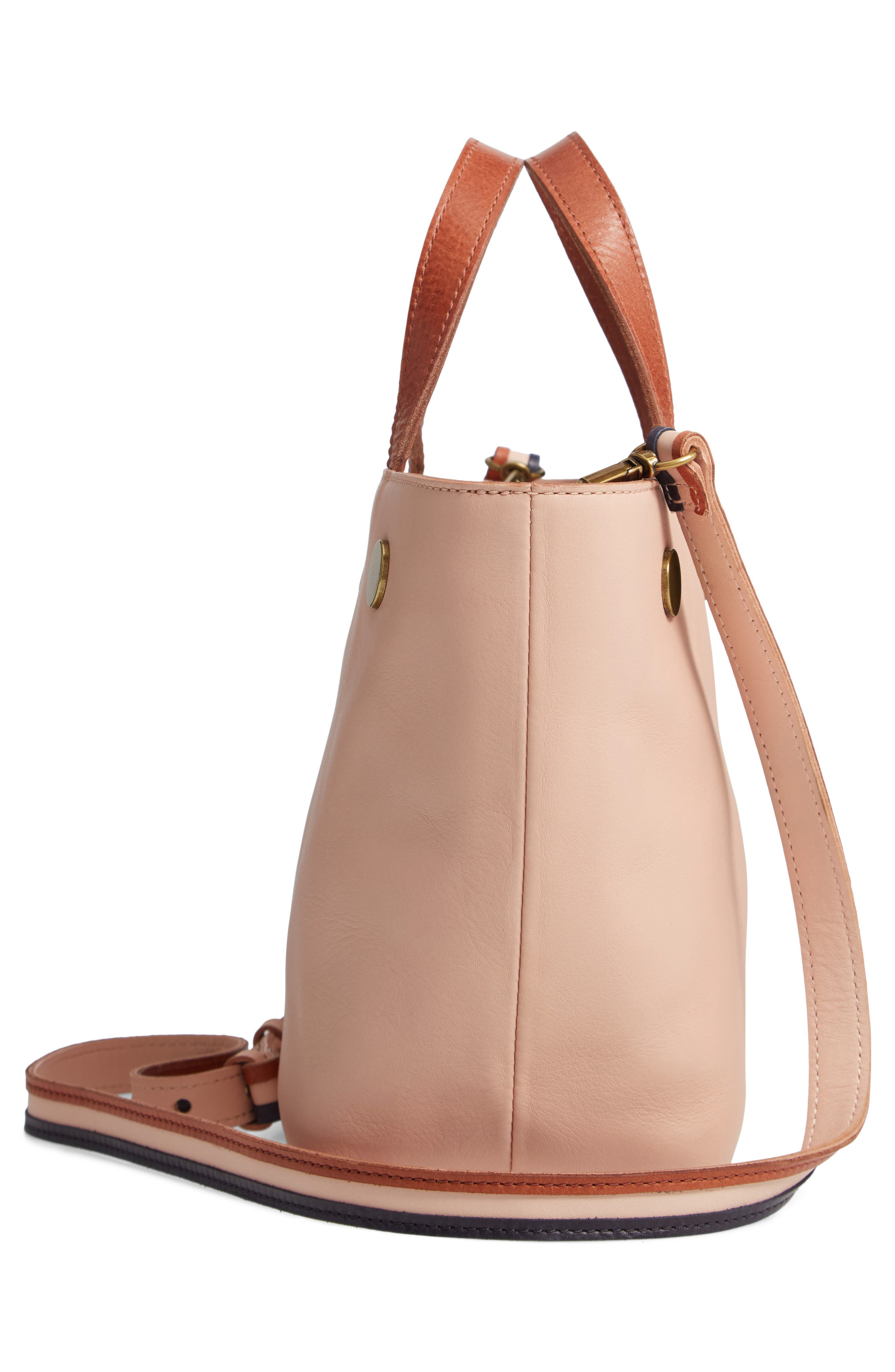 Leather Top Handle Bag,                             Alternate thumbnail 5, color,                             SHEER PINK