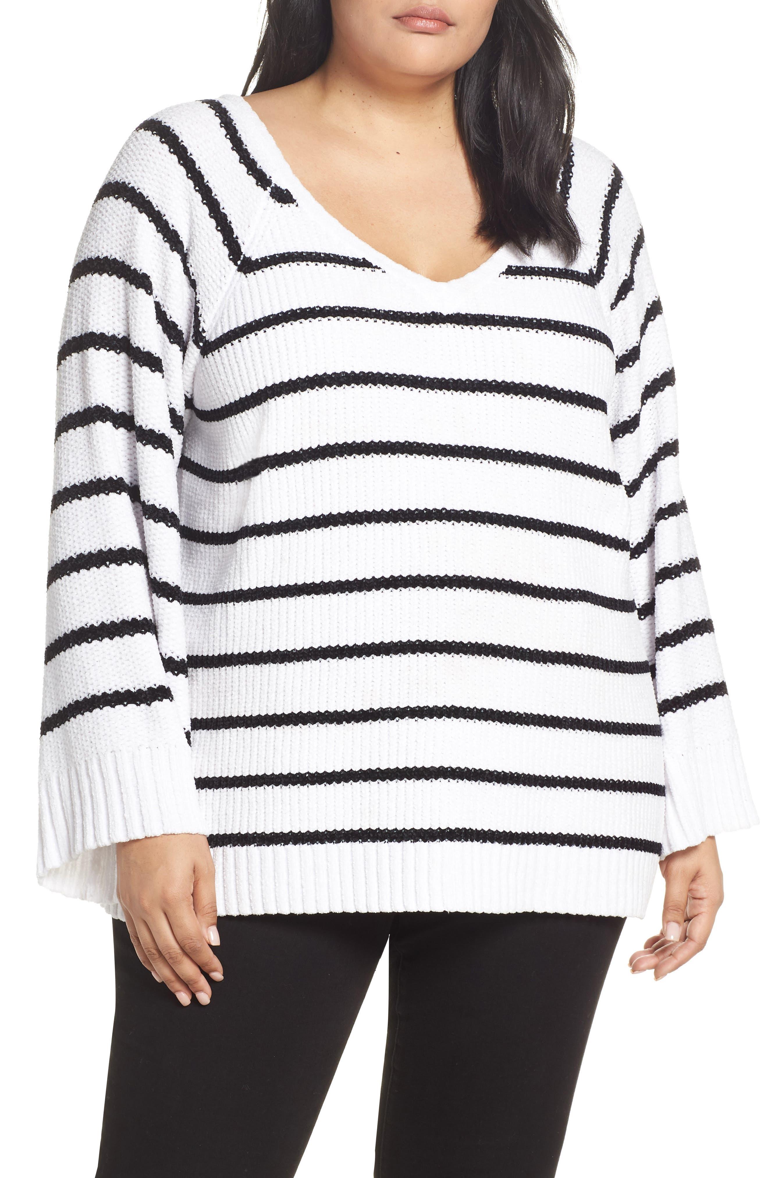 Plus Size & .layered Stripe V-Neck Sweater, White