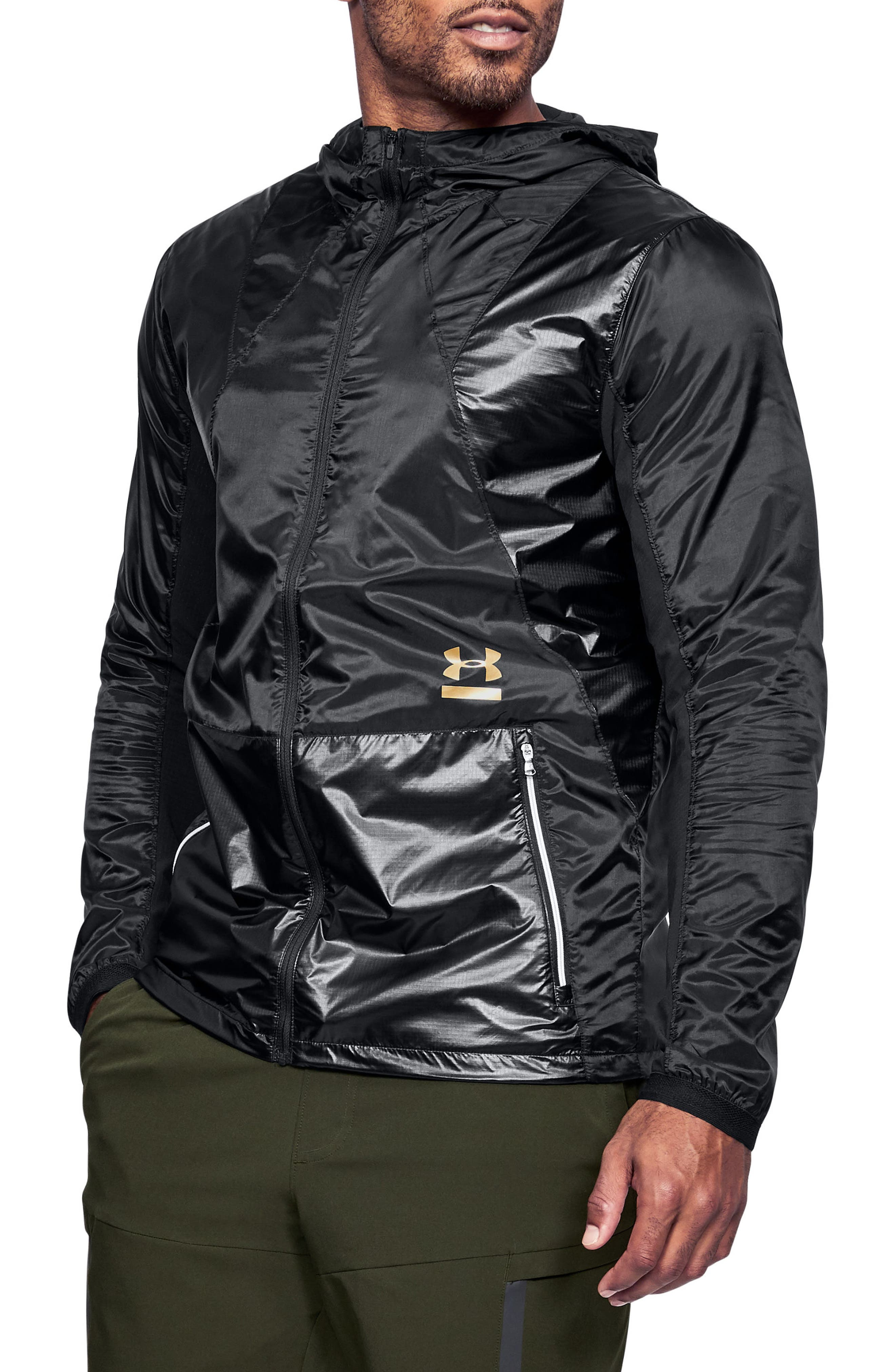 Perpetual Windproof & Water Resistant Hooded Jacket,                             Main thumbnail 1, color,                             BLACK/ METALLIC VICTORY GOLD