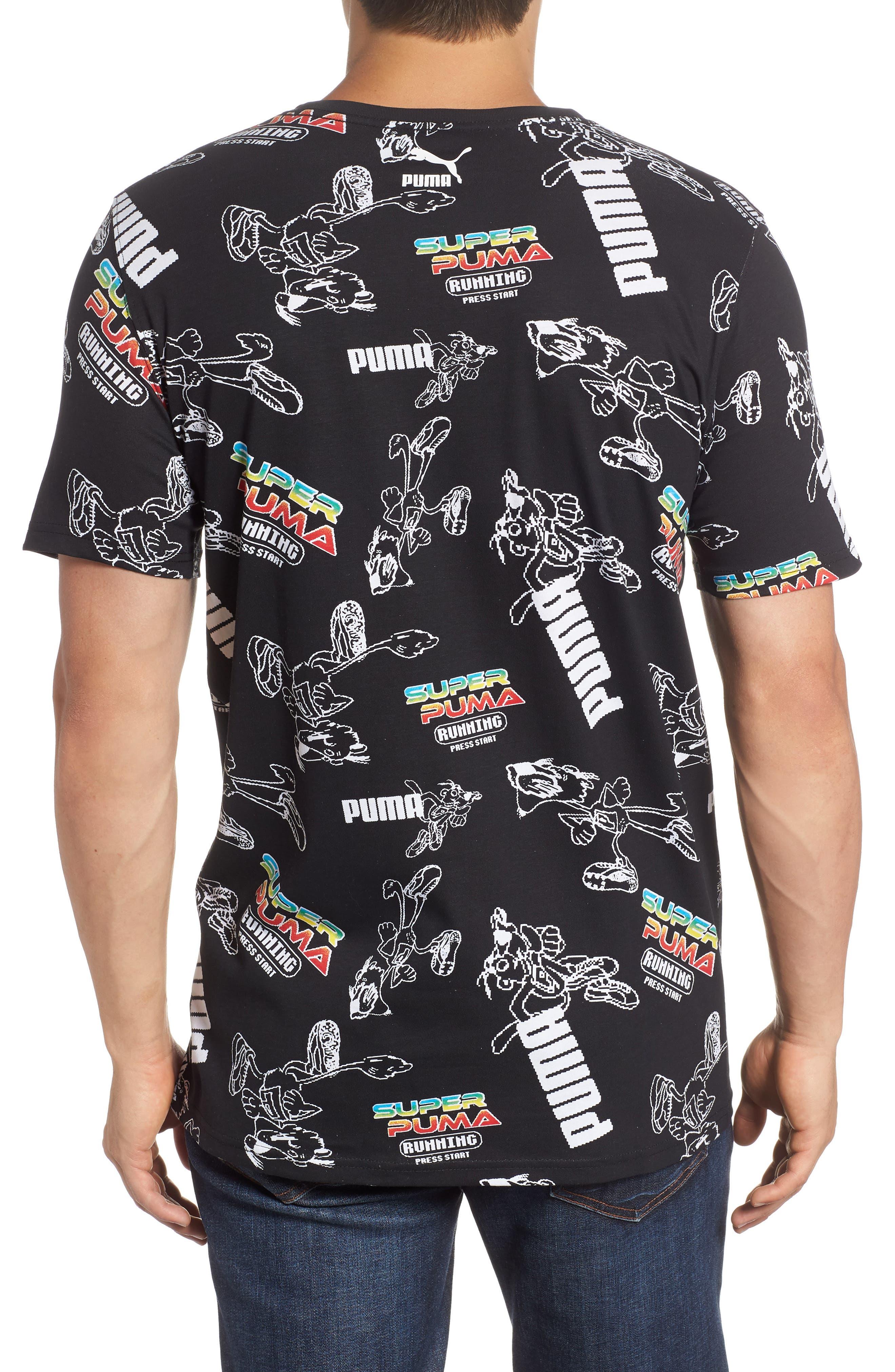 Super PUMA Regular Fit T-Shirt,                             Alternate thumbnail 2, color,                             COTTON BLACK