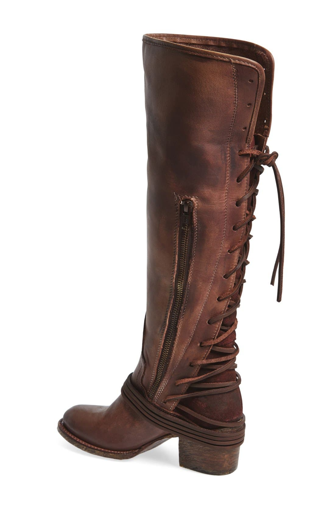 'Coal' Tall Leather Boot,                             Alternate thumbnail 2, color,                             PLUM
