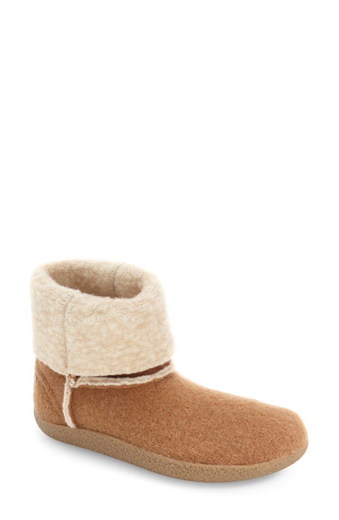 Bigelow Cuffed Water Repellent Slipper,                             Main thumbnail 1, color,                             ALMOND WOOL