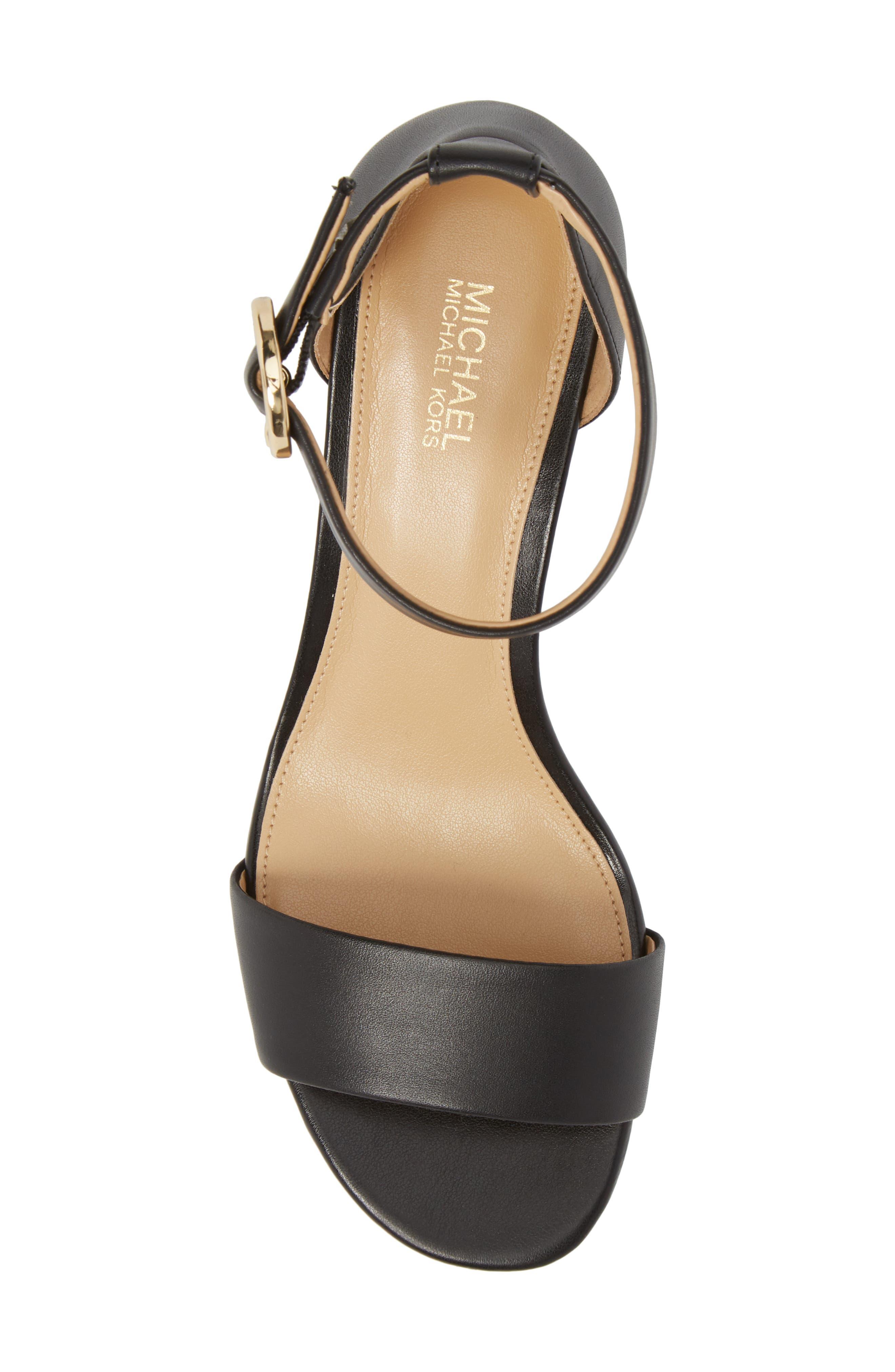 Lena Block Heel Sandal,                             Alternate thumbnail 5, color,                             BLACK