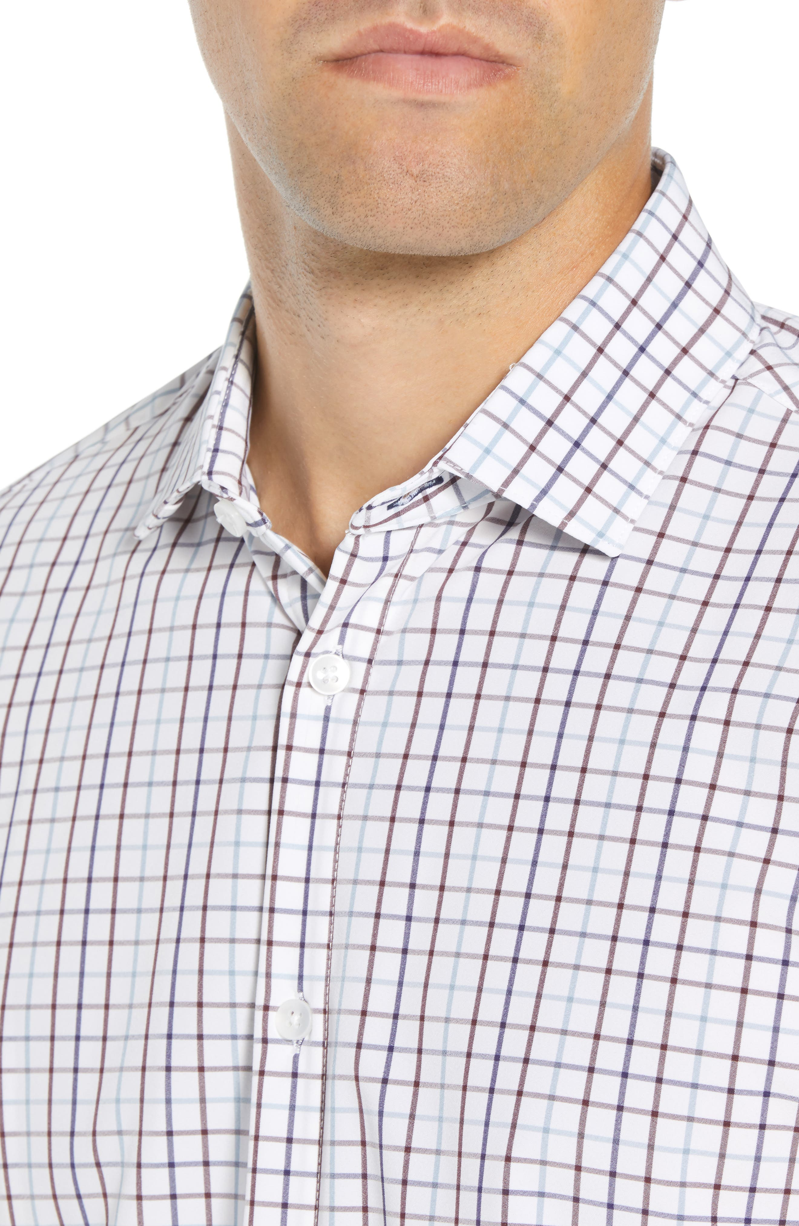 Ward Regular Fit Multi Check Performance Sport Shirt,                             Alternate thumbnail 2, color,                             WHITE
