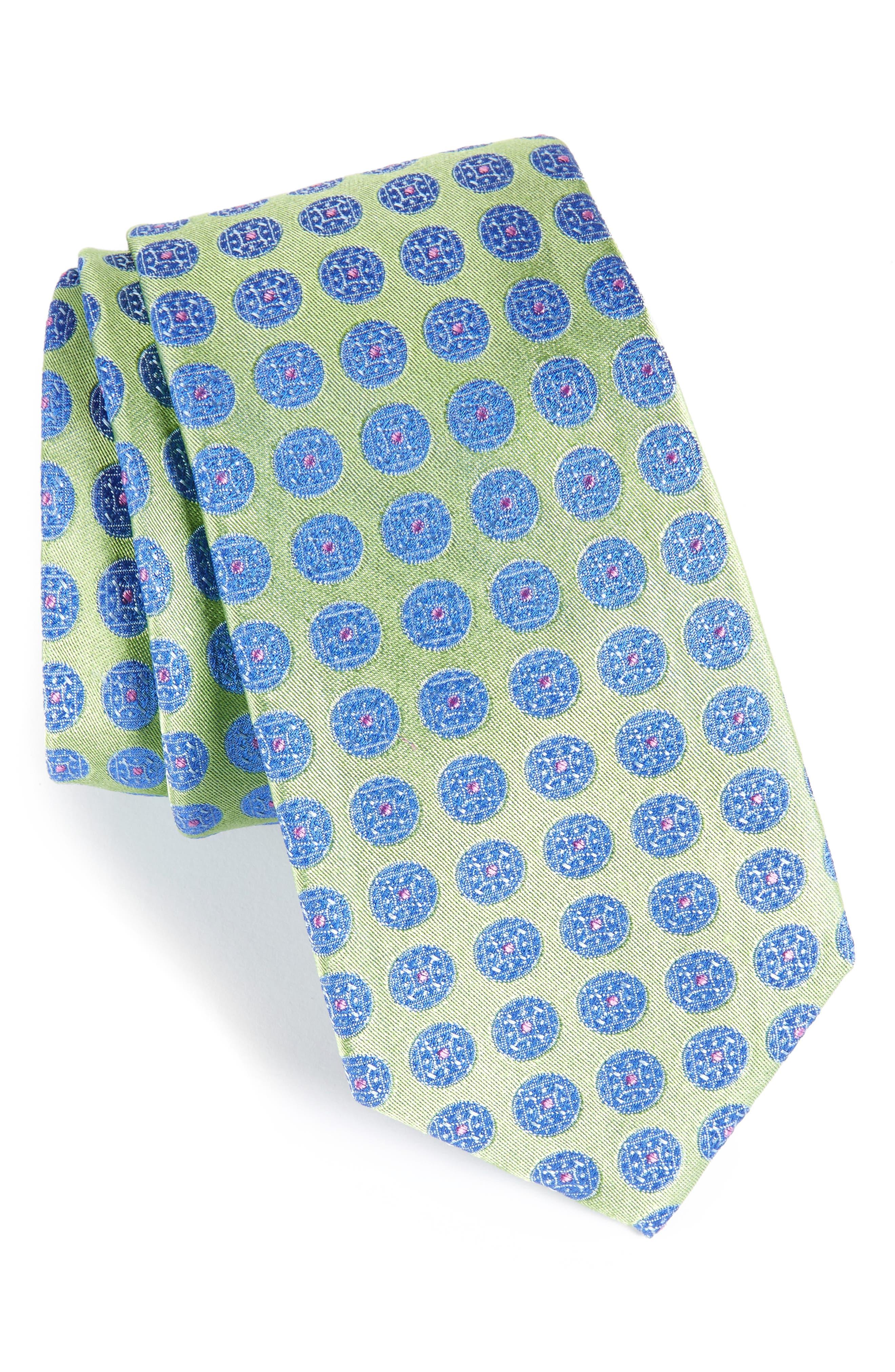 Carlos Medallion Silk Tie,                         Main,                         color, 333