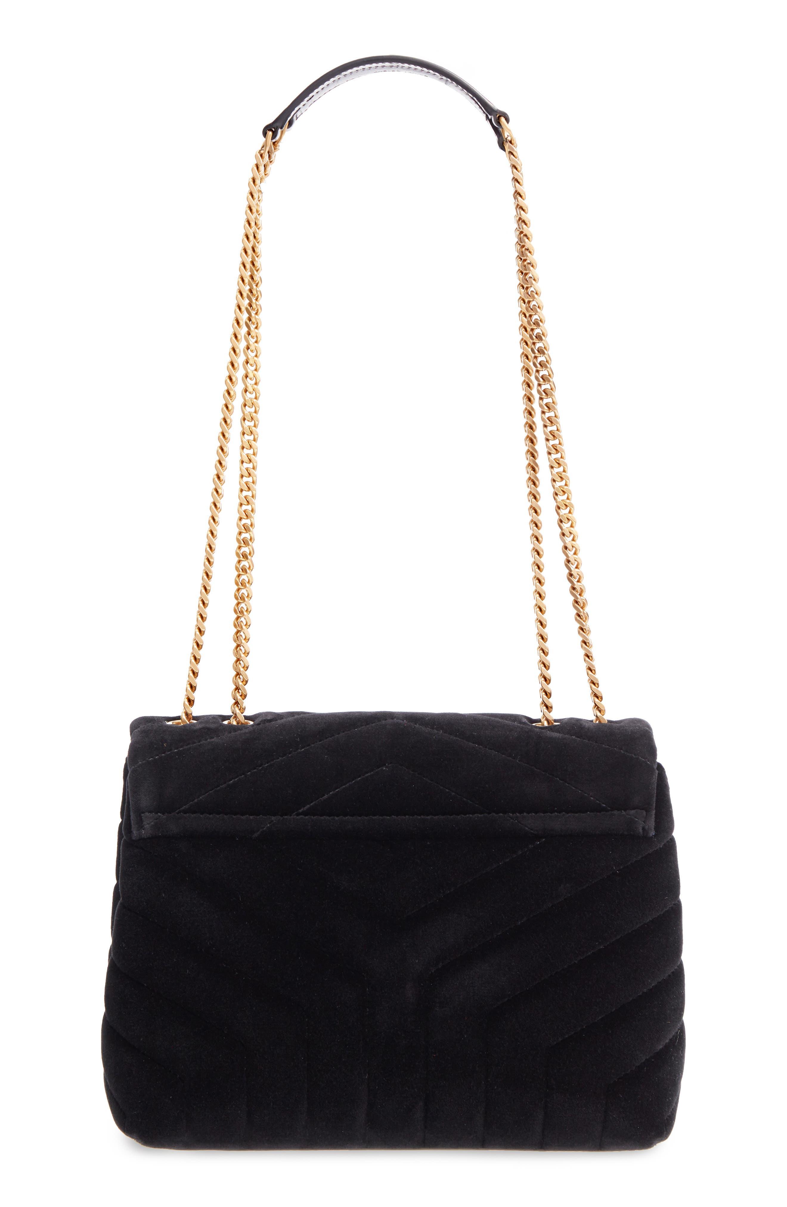 SAINT LAURENT,                             Small Loulou Velvet Shoulder Bag,                             Alternate thumbnail 3, color,                             NERO/ NERO/ NERO