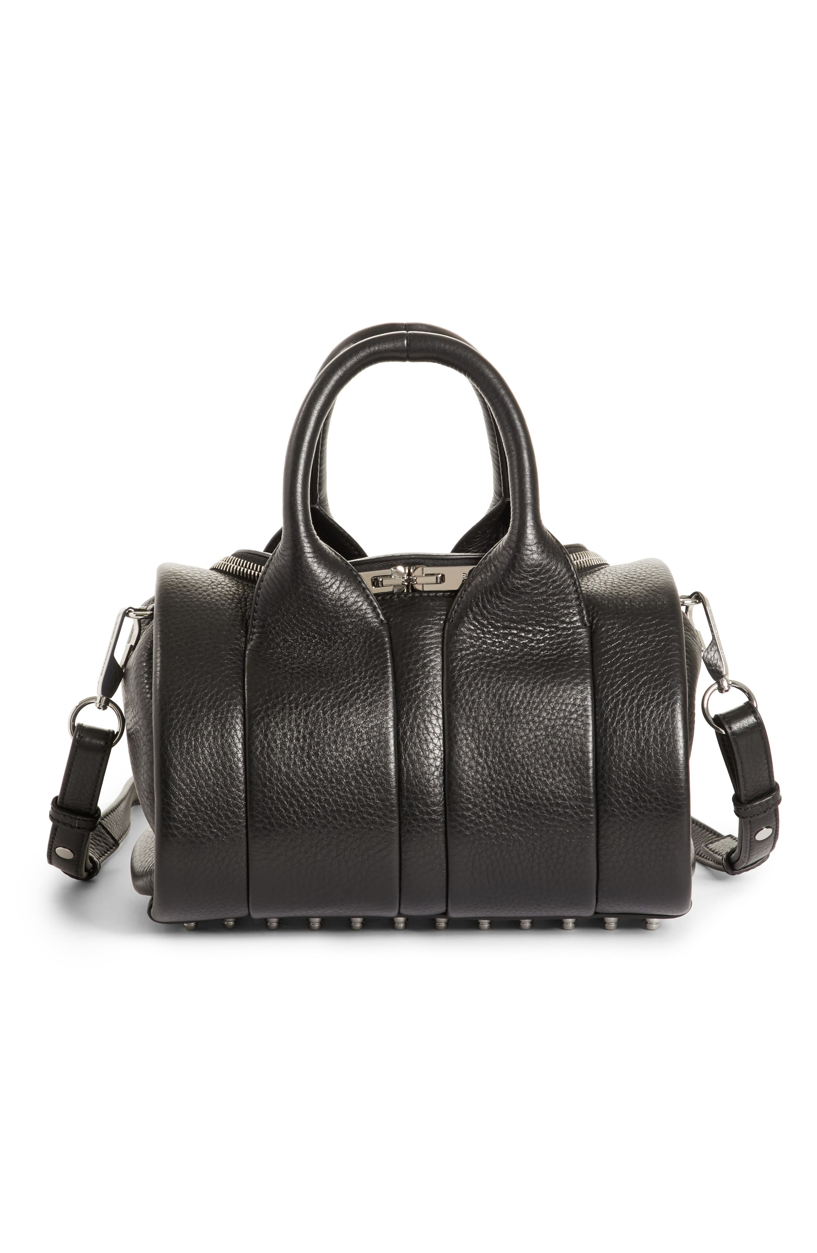 Rockie - Nickel Leather Satchel,                             Main thumbnail 1, color,                             001