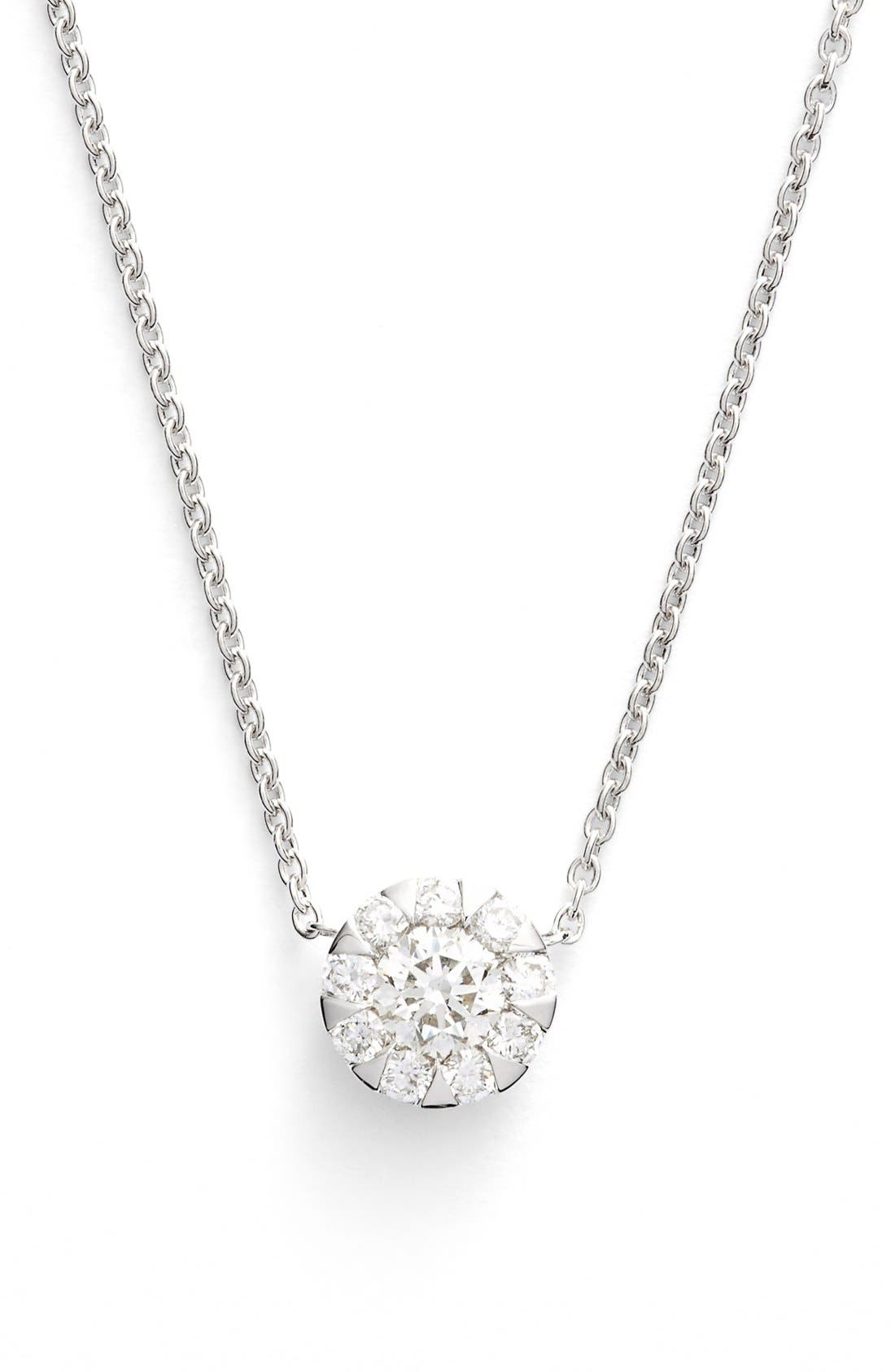 'Sunburst' Diamond Pendant Necklace,                             Main thumbnail 1, color,                             WHITE GOLD