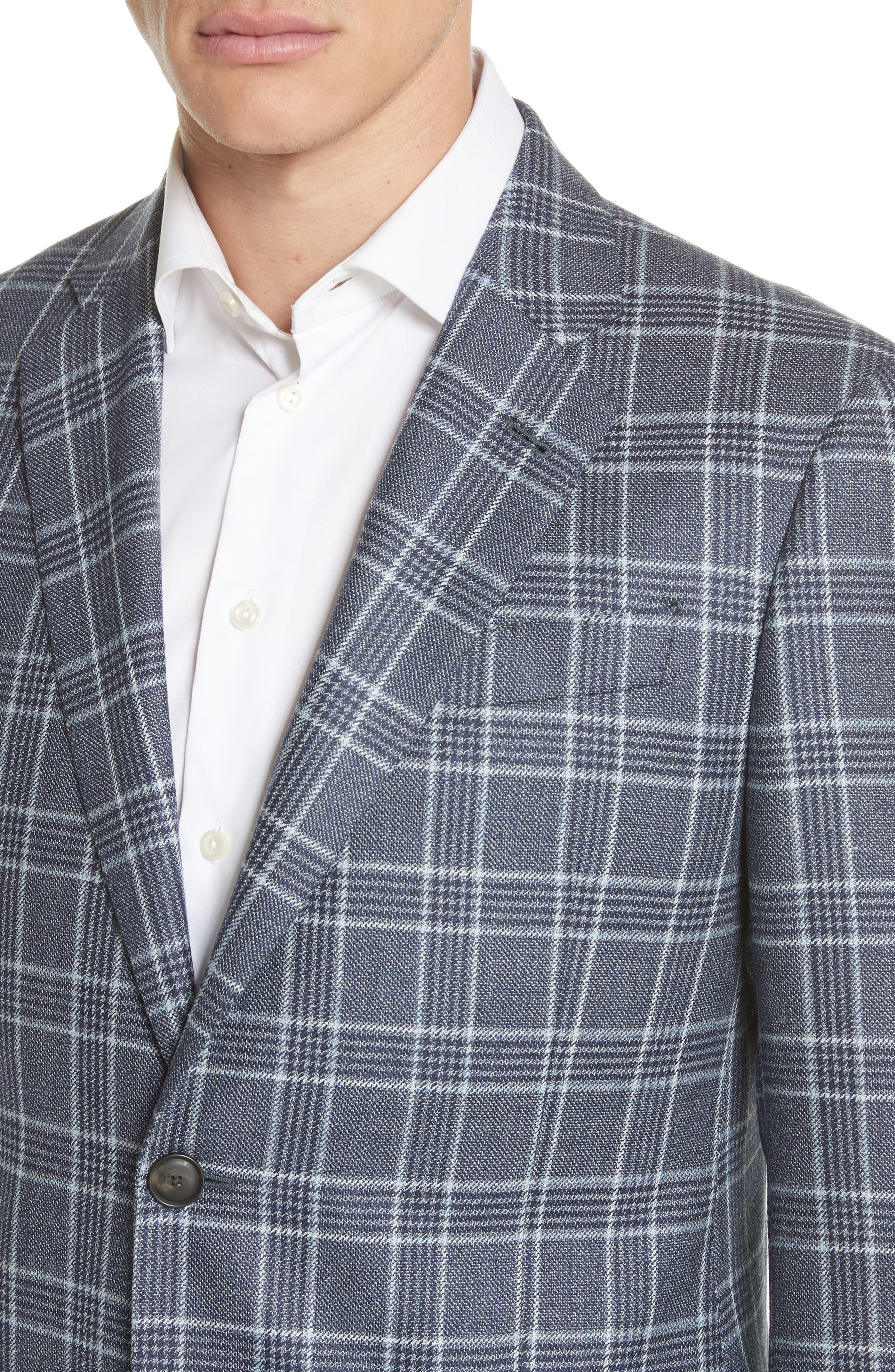 G Line Trim Fit Plaid Silk & Wool Sport Coat,                             Alternate thumbnail 4, color,                             459