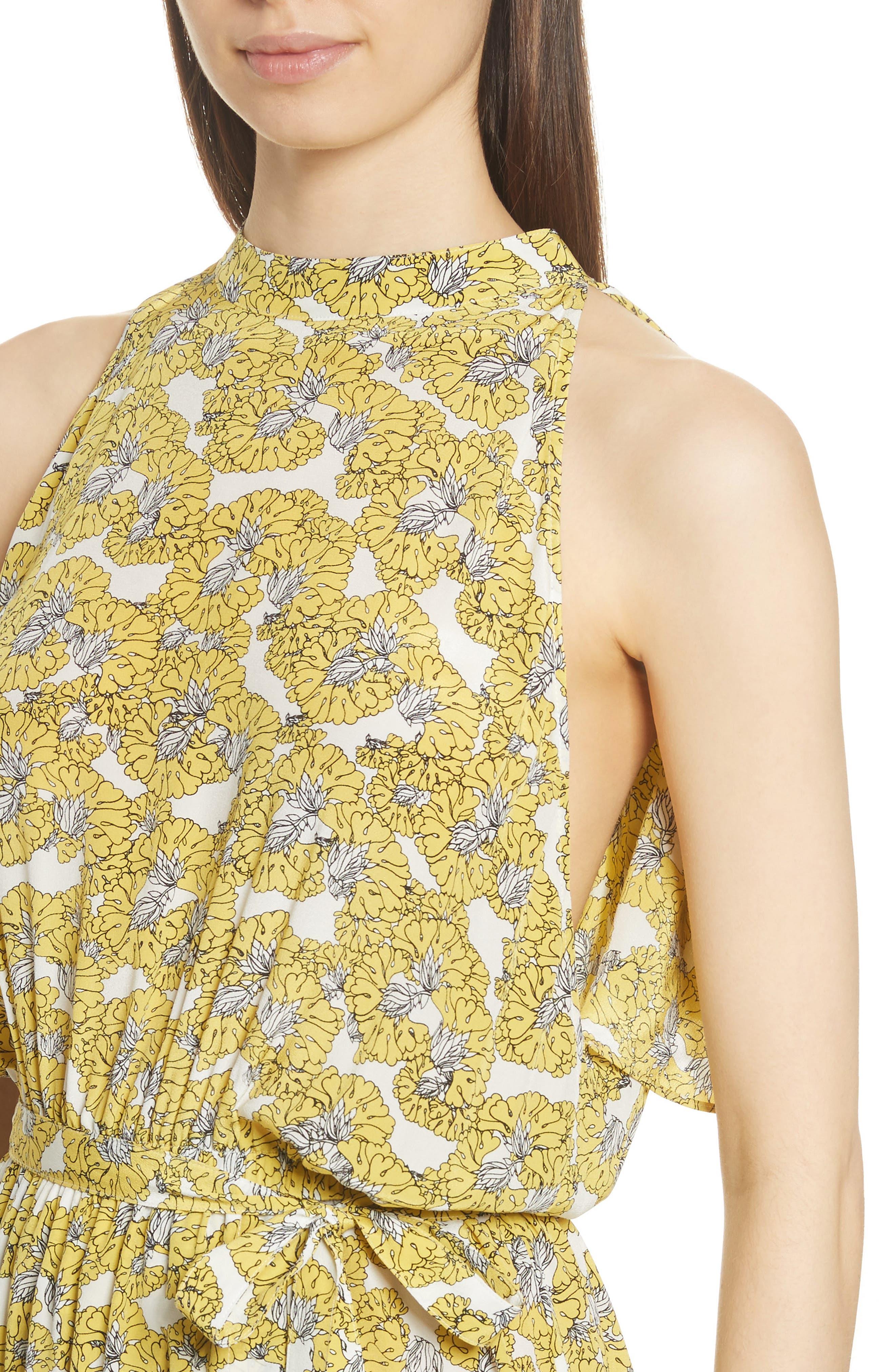 Dania Floral Print Dress,                             Alternate thumbnail 4, color,                             730