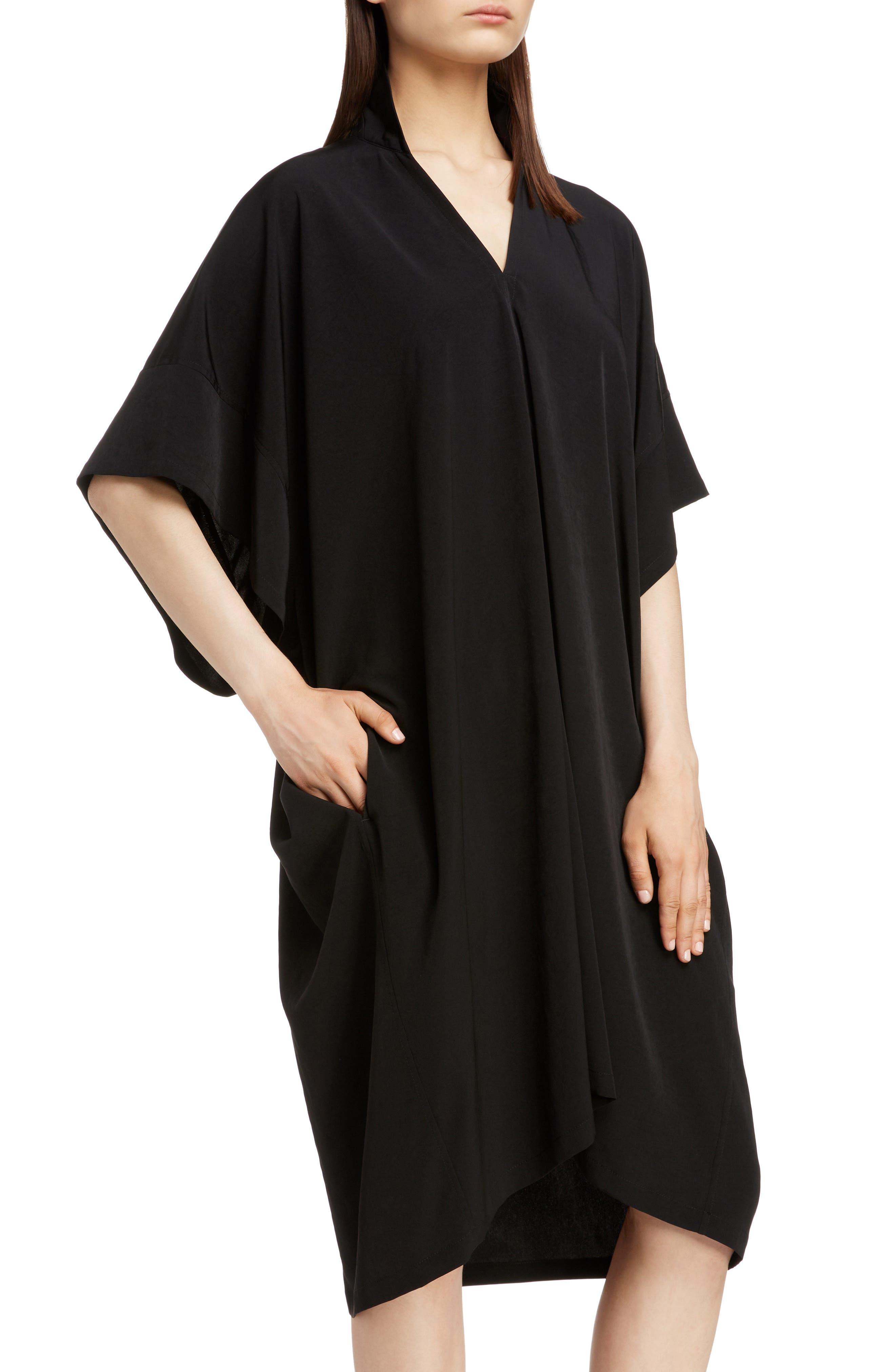 Stand Collar Flare Dress,                             Alternate thumbnail 4, color,                             BLACK
