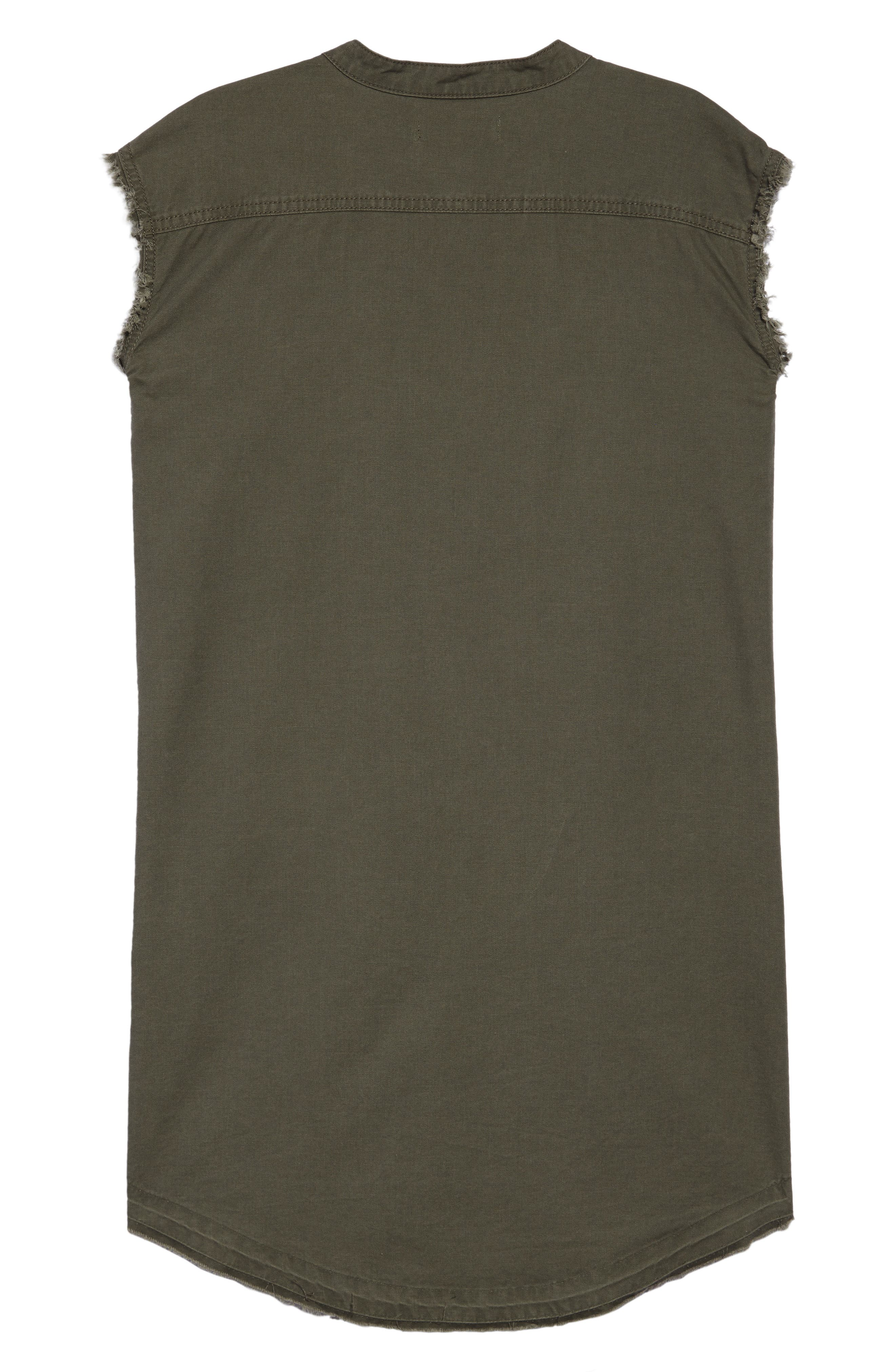 Frayed Hem Sleeveless Shirtdress,                             Alternate thumbnail 2, color,                             311