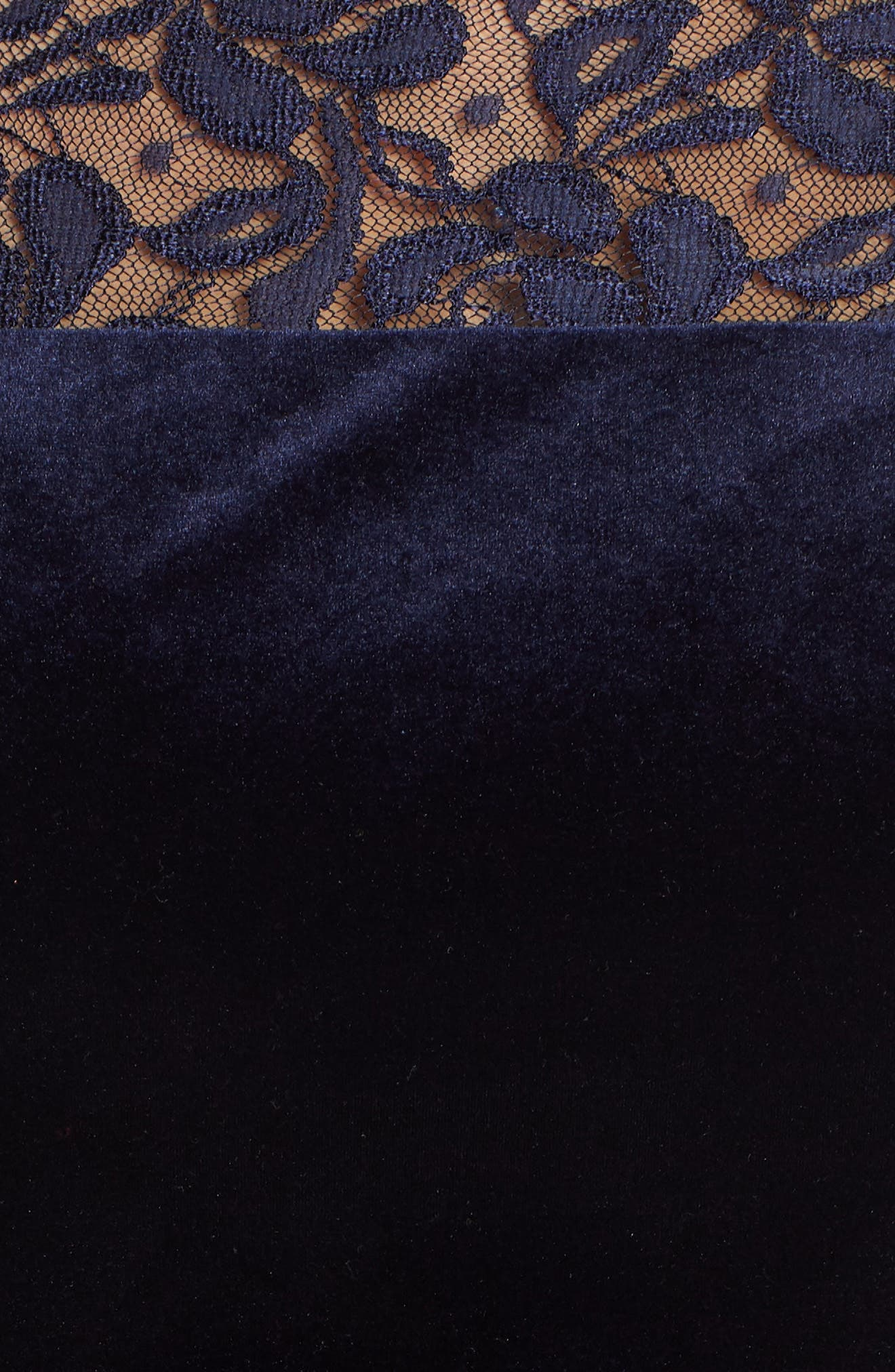 Lace & Stretch Velvet Cocktail Dress,                             Alternate thumbnail 6, color,                             NAVY