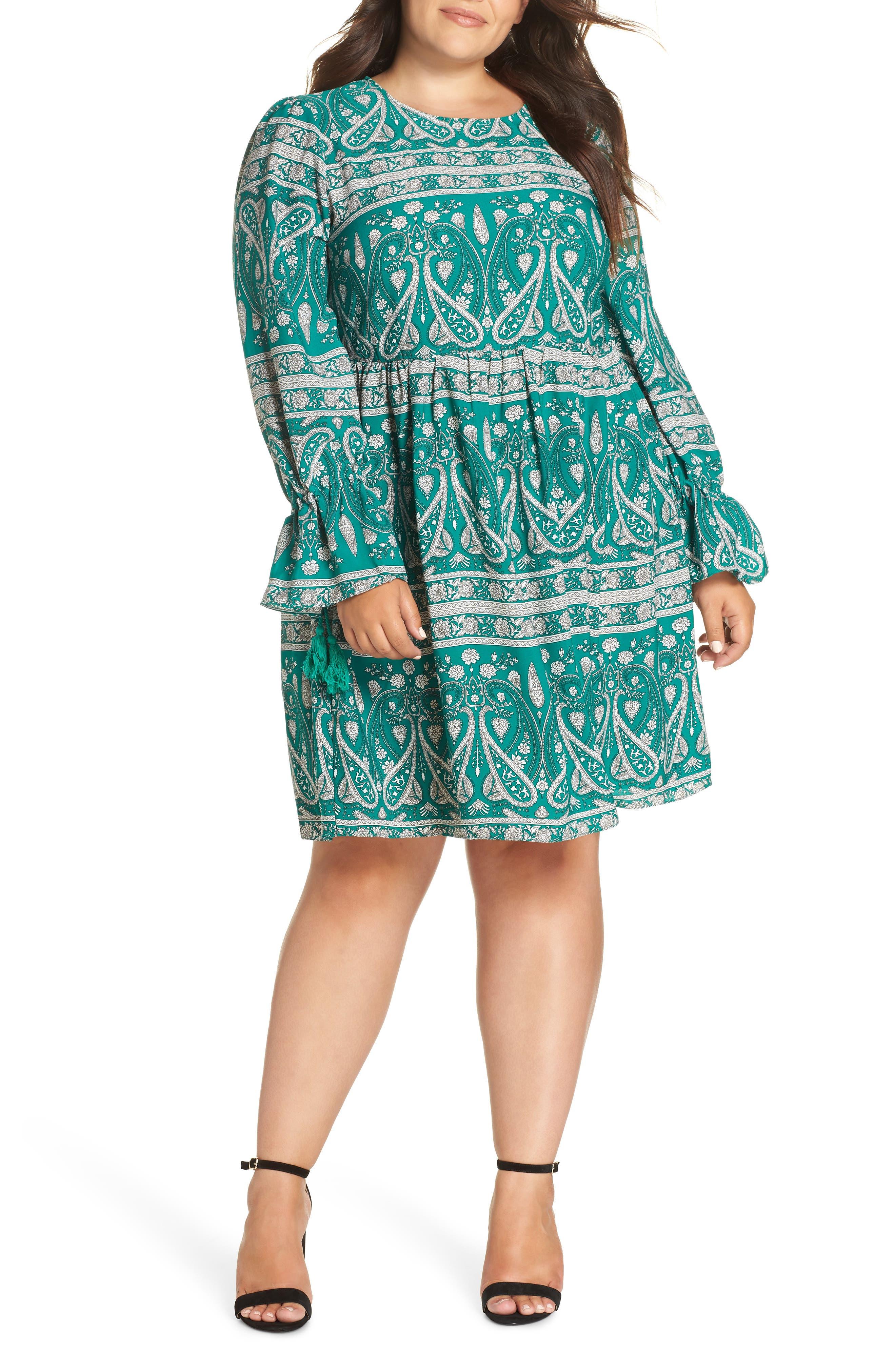 GLAMOROUS Paisley Smock Dress in Green White Paisley