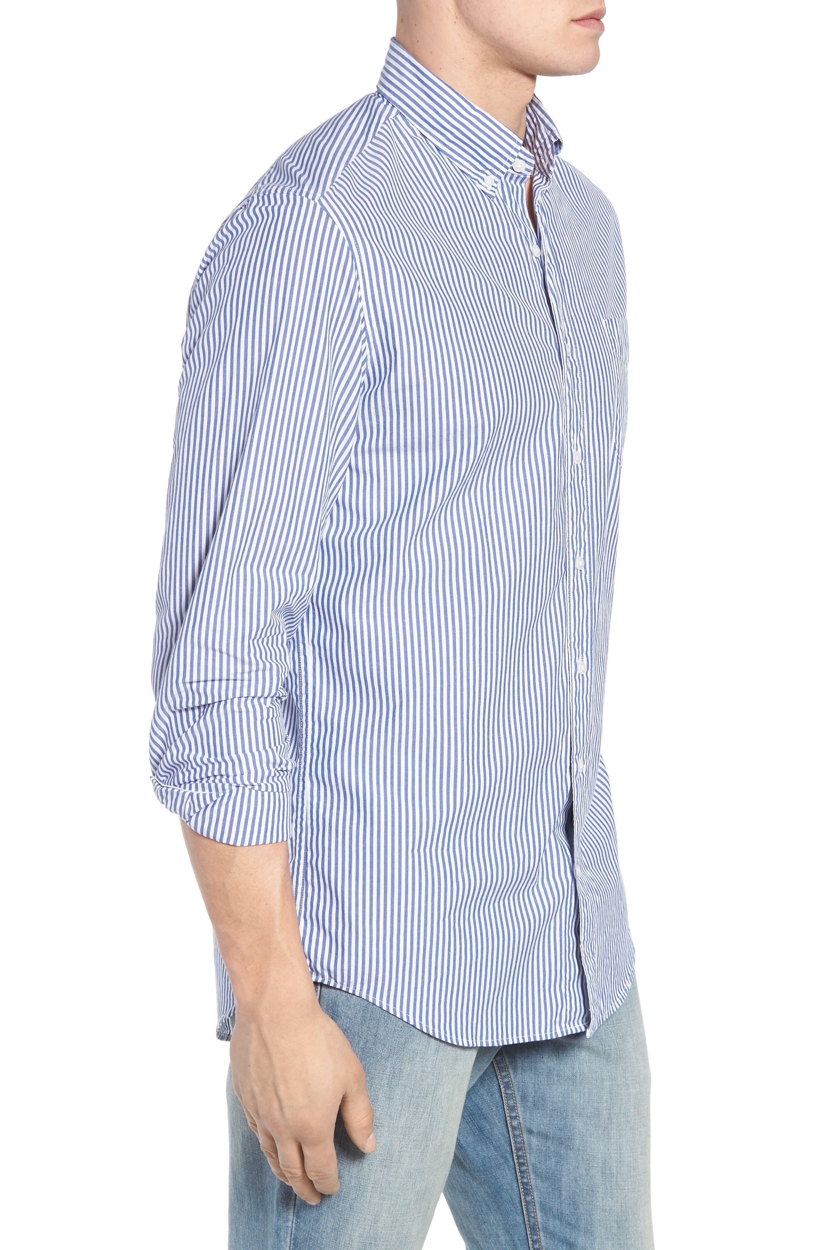 Classic Fit Stretch Secret Wash Stripe Sport Shirt,                             Alternate thumbnail 3, color,                             408