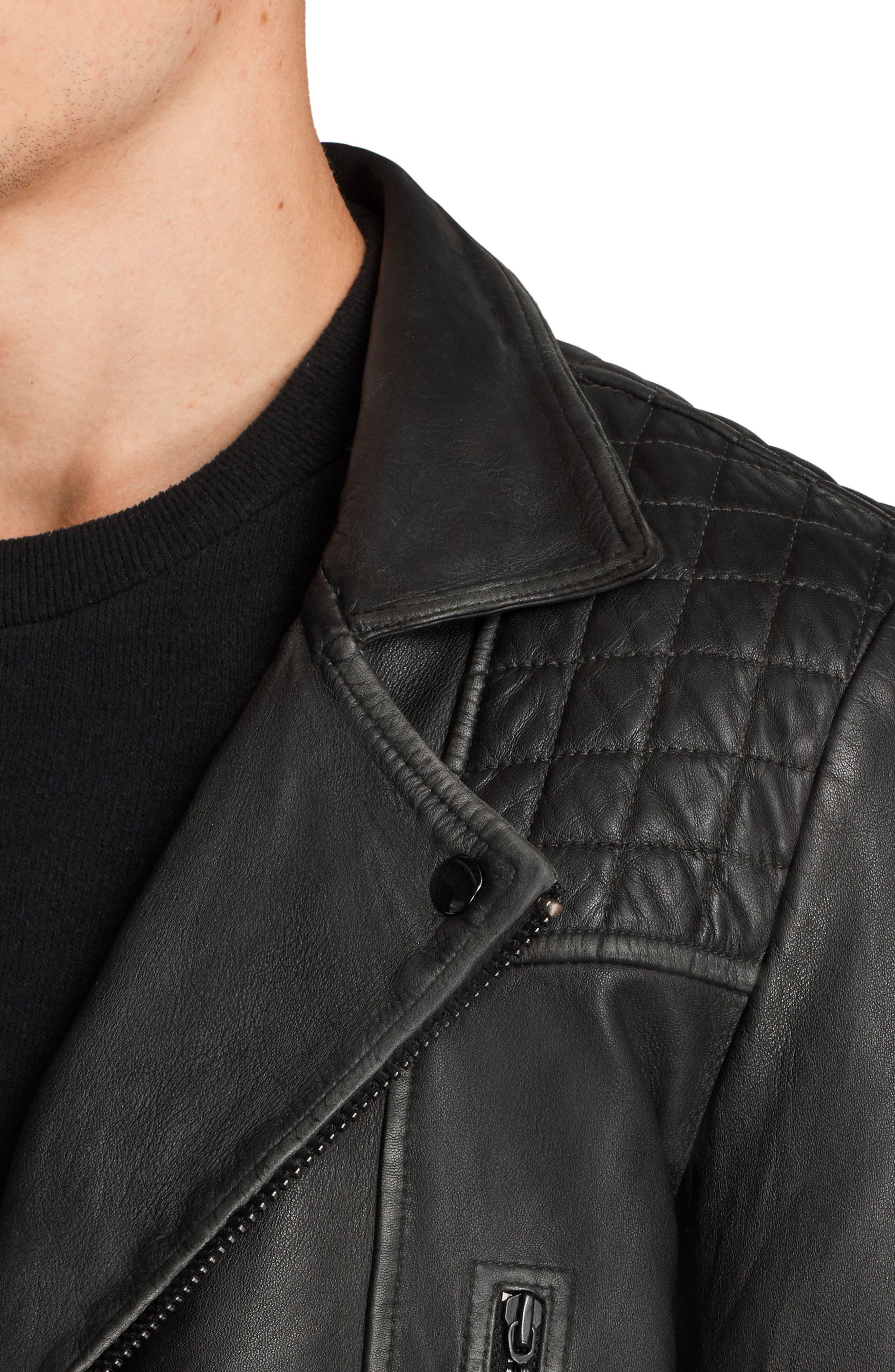 Cargo Biker Slim Fit Leather Jacket,                             Alternate thumbnail 3, color,                             BLACK GREY