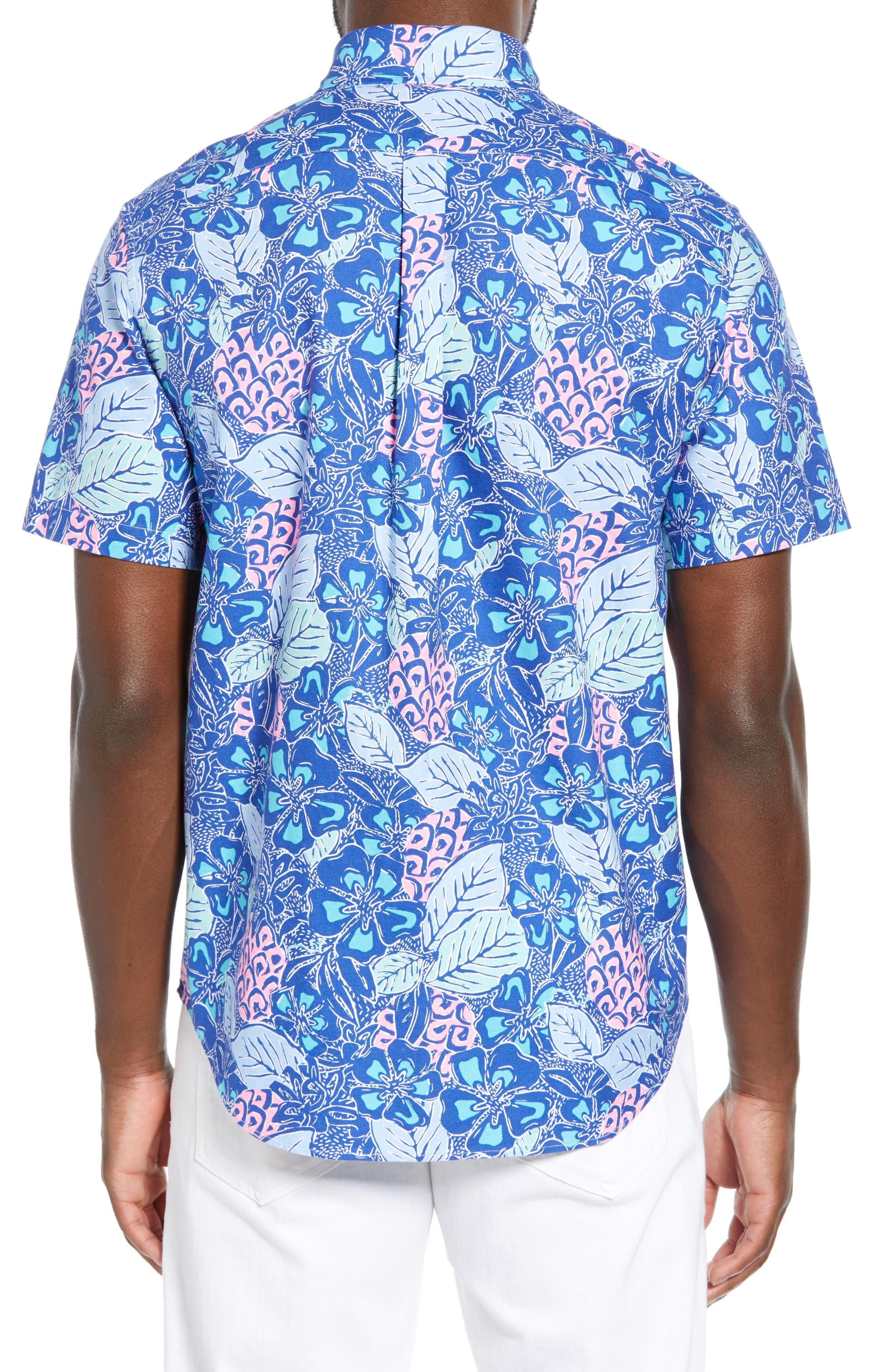 VINEYARD VINES,                             Murray Slim Fit Pineapple Print Sport Shirt,                             Alternate thumbnail 3, color,                             ROYAL OCEAN