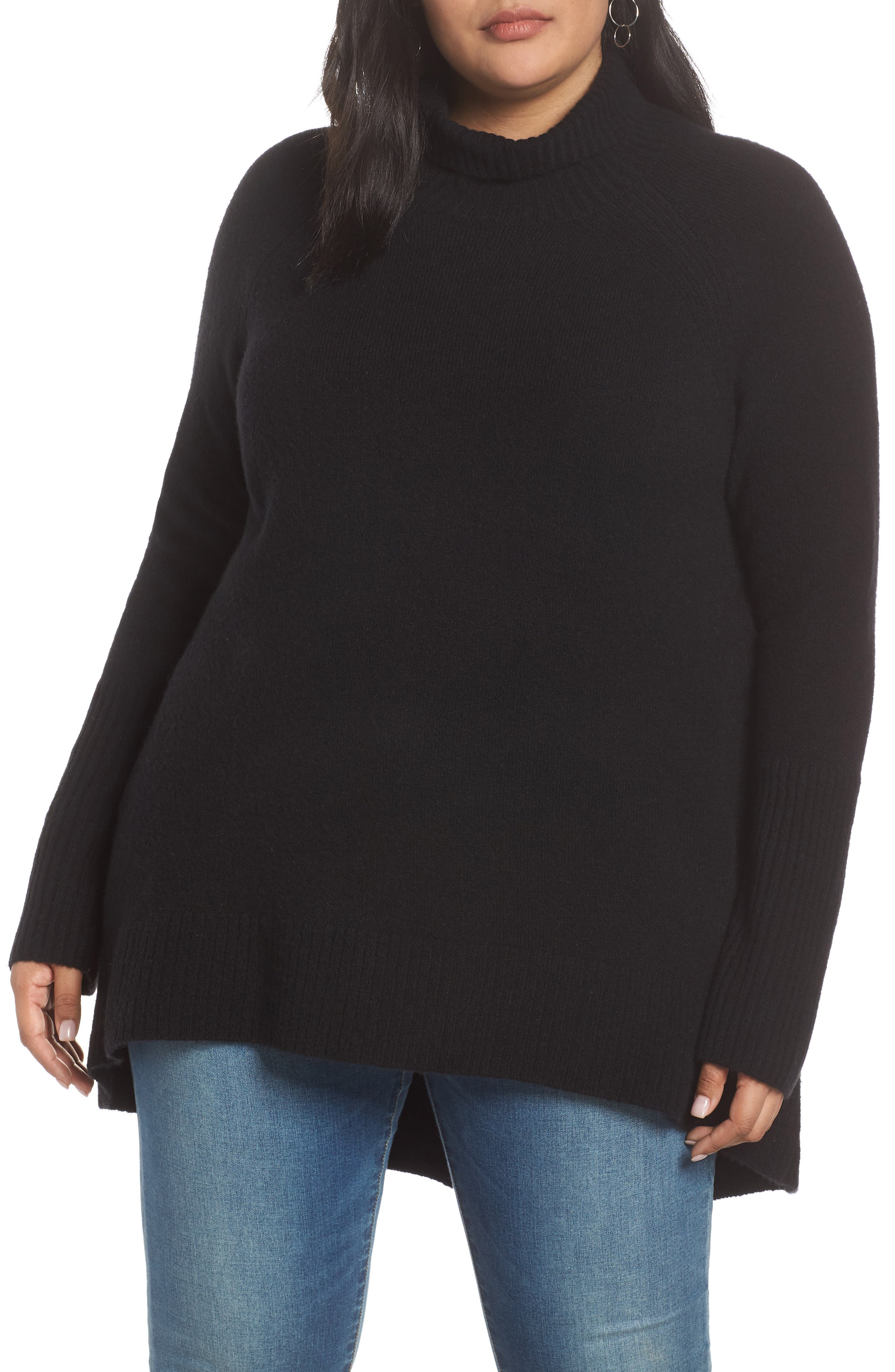 High Low Oversize Wool Blend Sweater,                             Alternate thumbnail 2, color,                             BLACK