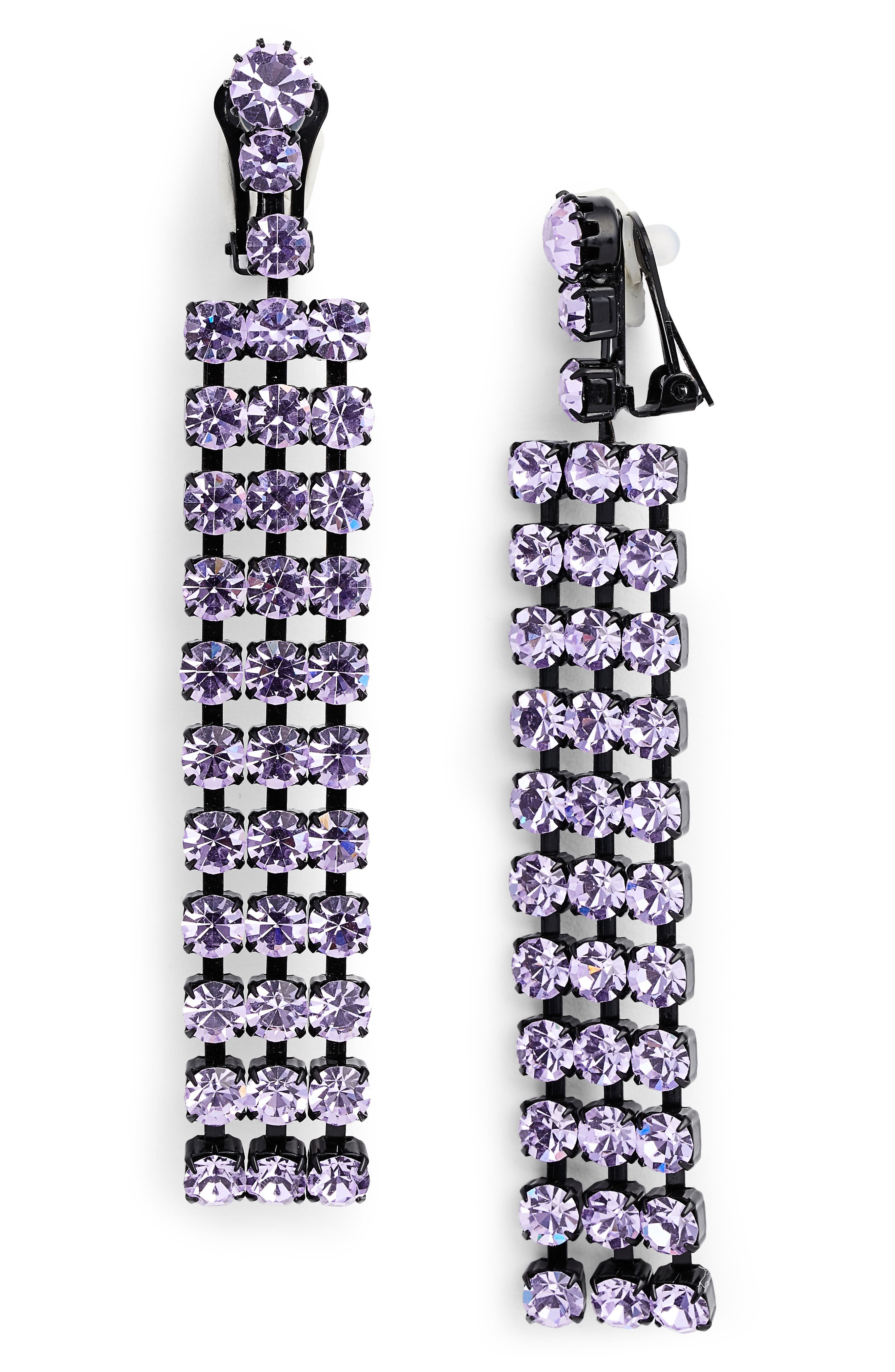 Cindy Crystal Earrings,                         Main,                         color, VIOLET