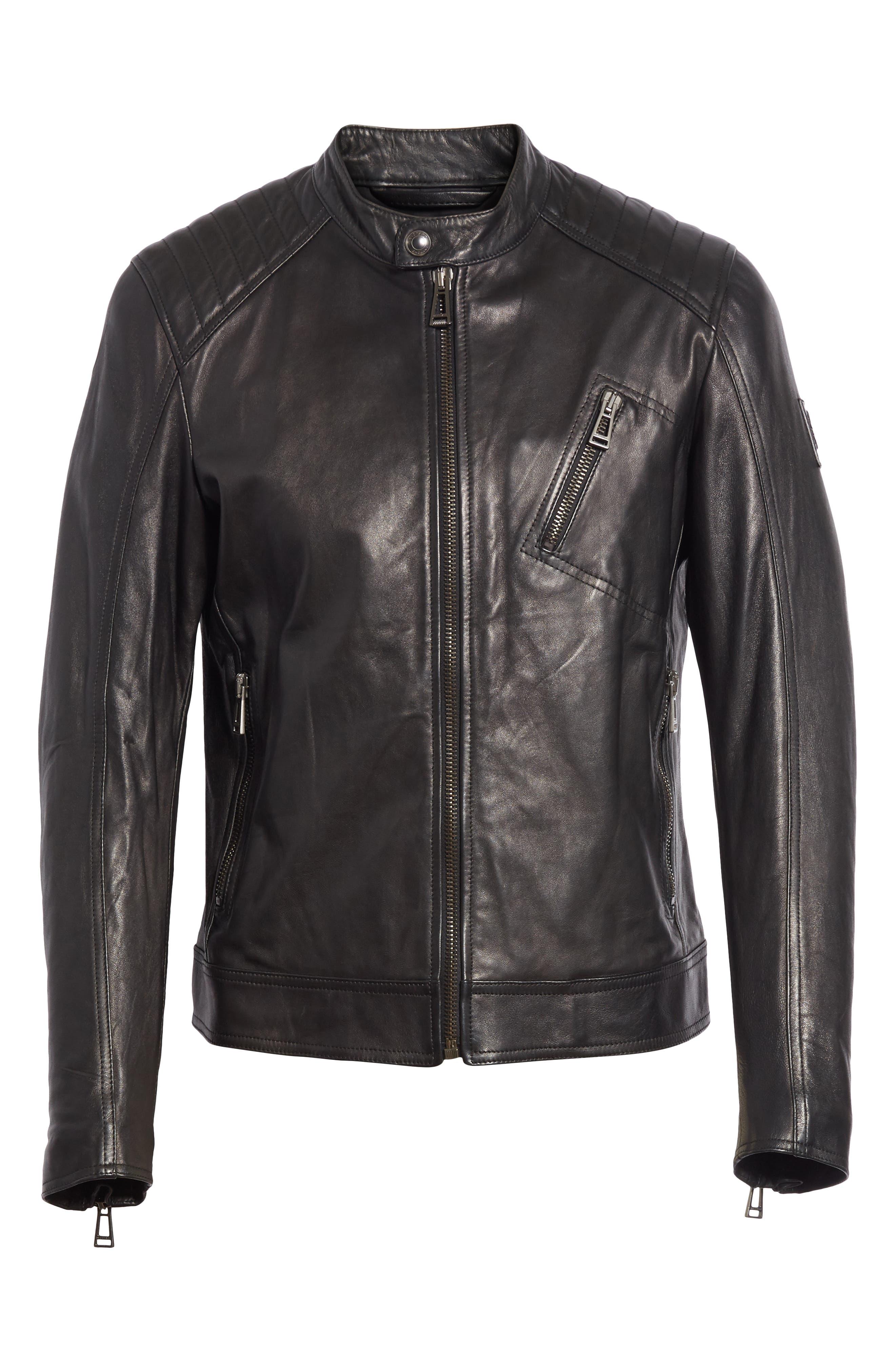 V Racer Leather Jacket,                             Alternate thumbnail 3, color,                             BLACK