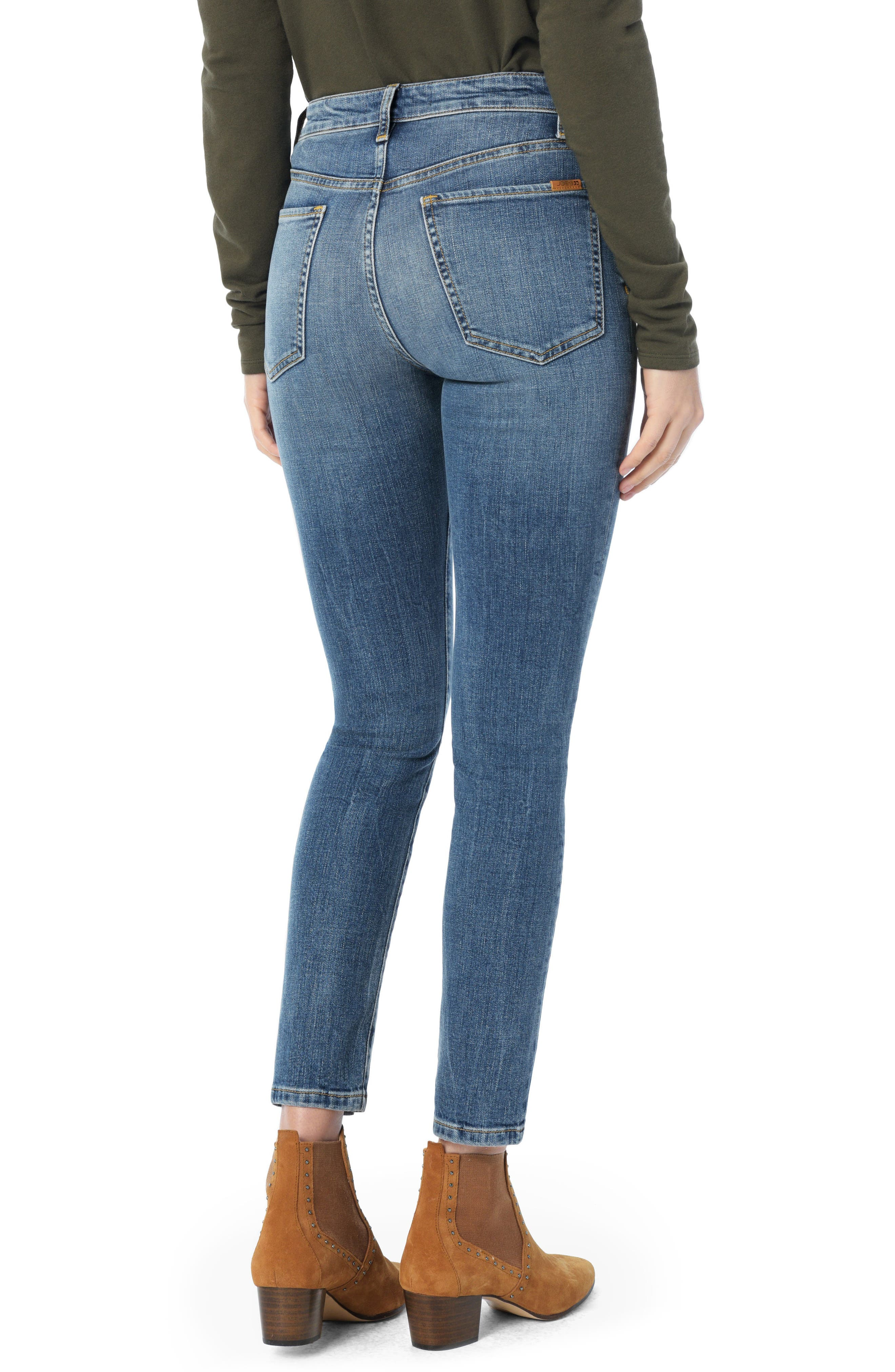 Charlie Pintuck High Waist Ankle Skinny Jeans,                             Alternate thumbnail 2, color,                             SILVIA