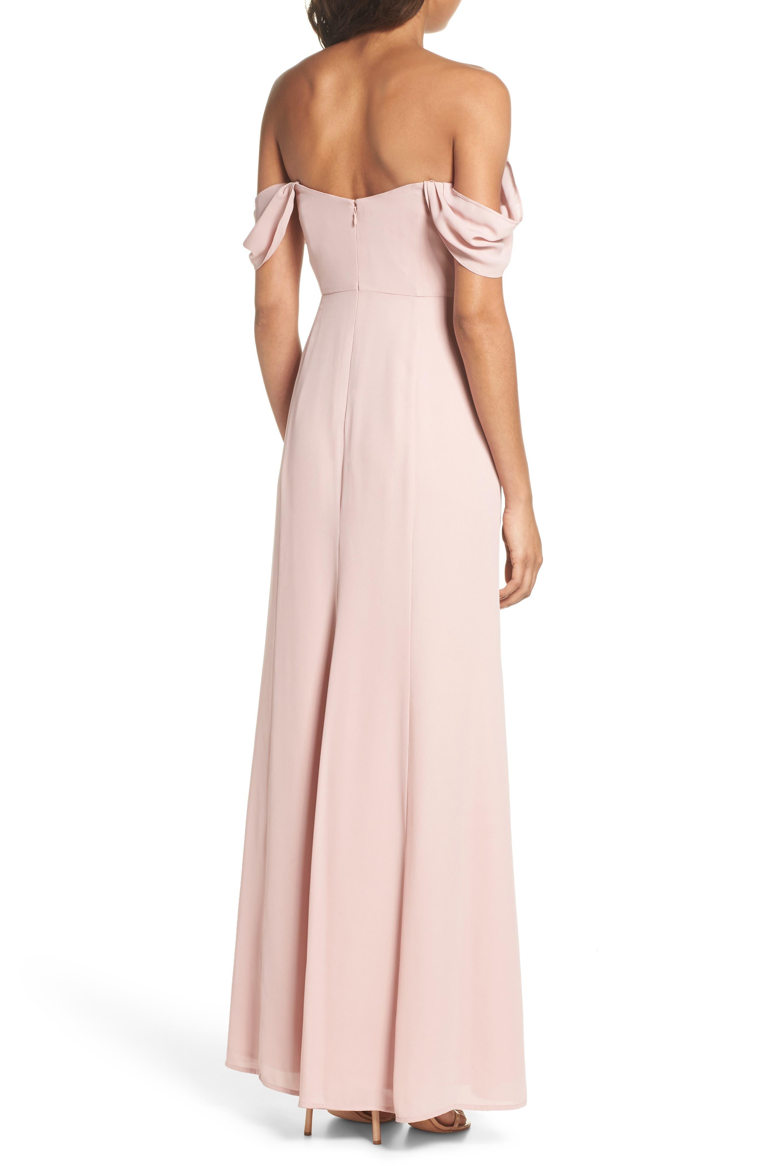 Rachel Off the Shoulder Gored Maxi Dress,                             Alternate thumbnail 4, color,