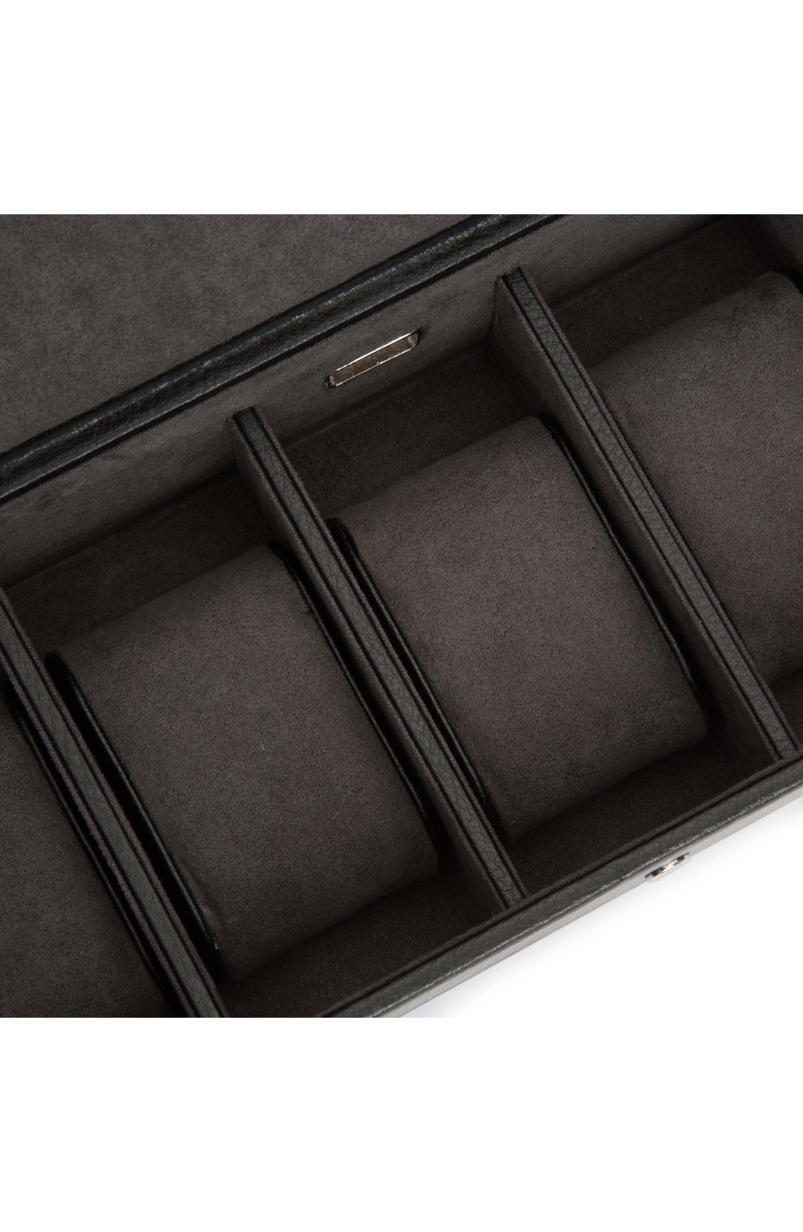 Blake Leather Watch Box,                             Alternate thumbnail 2, color,                             BLACK