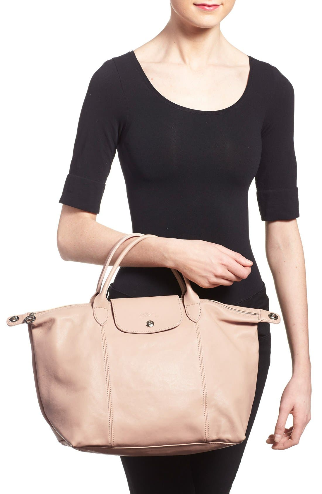 Medium 'Le Pliage Cuir' Leather Top Handle Tote,                             Alternate thumbnail 43, color,