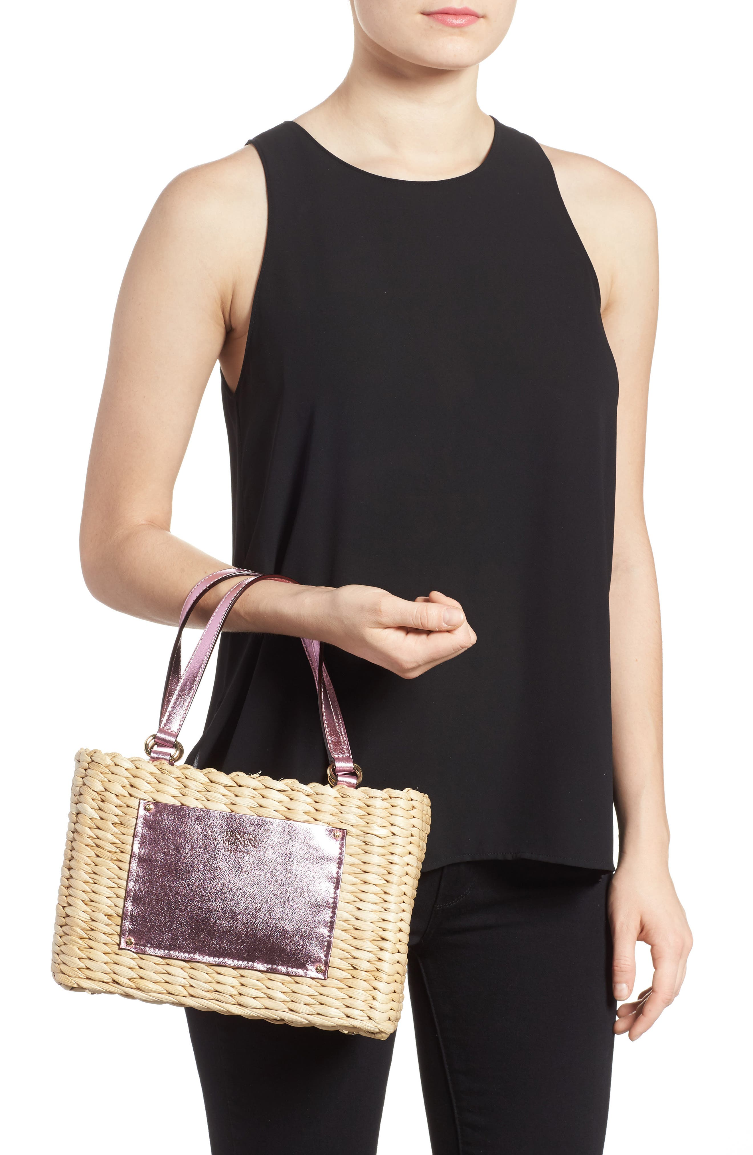 Small Woven Straw Tote,                             Alternate thumbnail 2, color,                             670