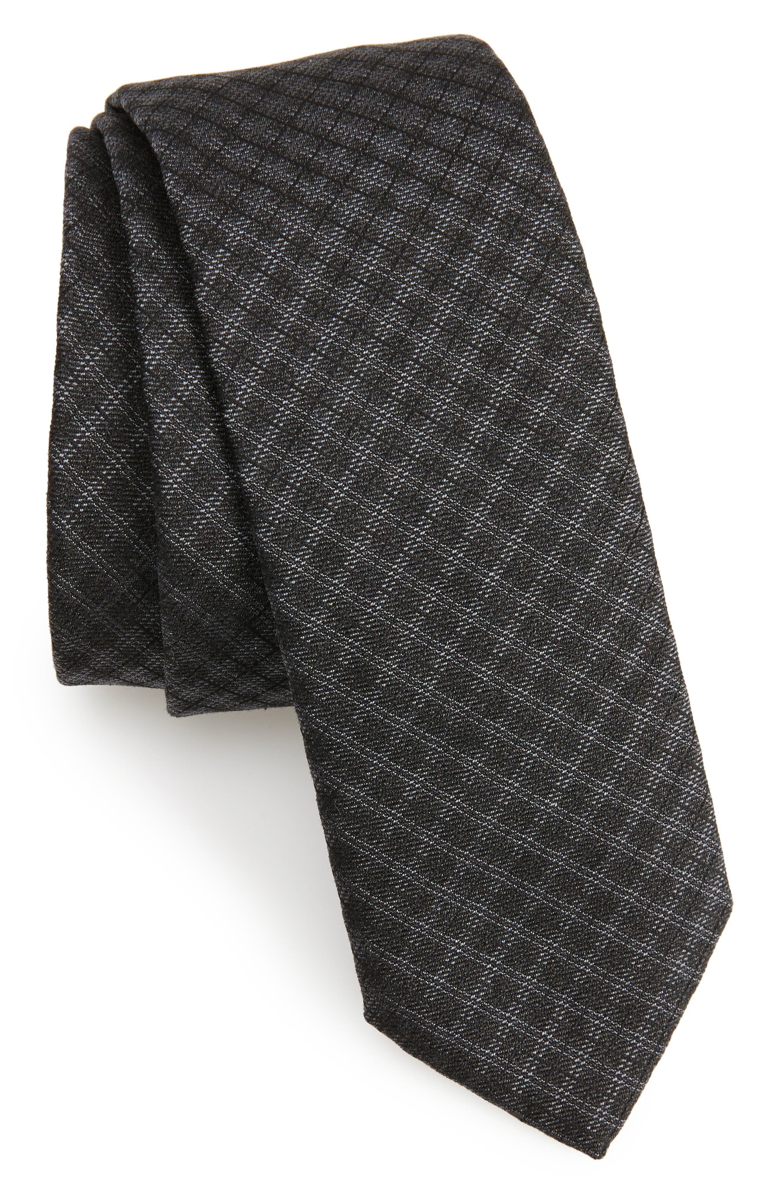 Tonal Check Silk Skinny Tie,                             Main thumbnail 1, color,
