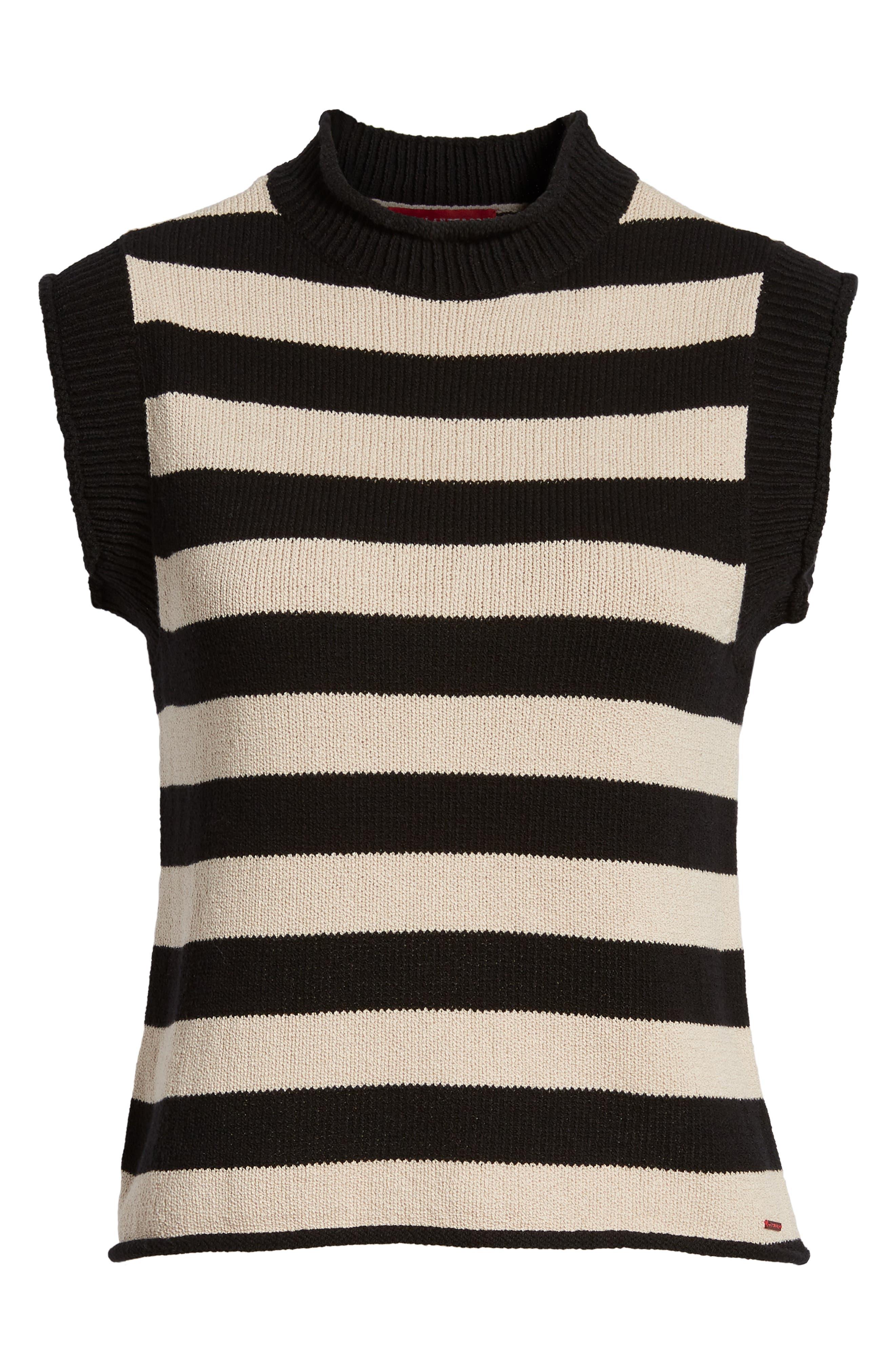 Tenny Stripe Sleeveless Sweater,                             Alternate thumbnail 6, color,                             BLACK CAT / AUTUMN STRIPE