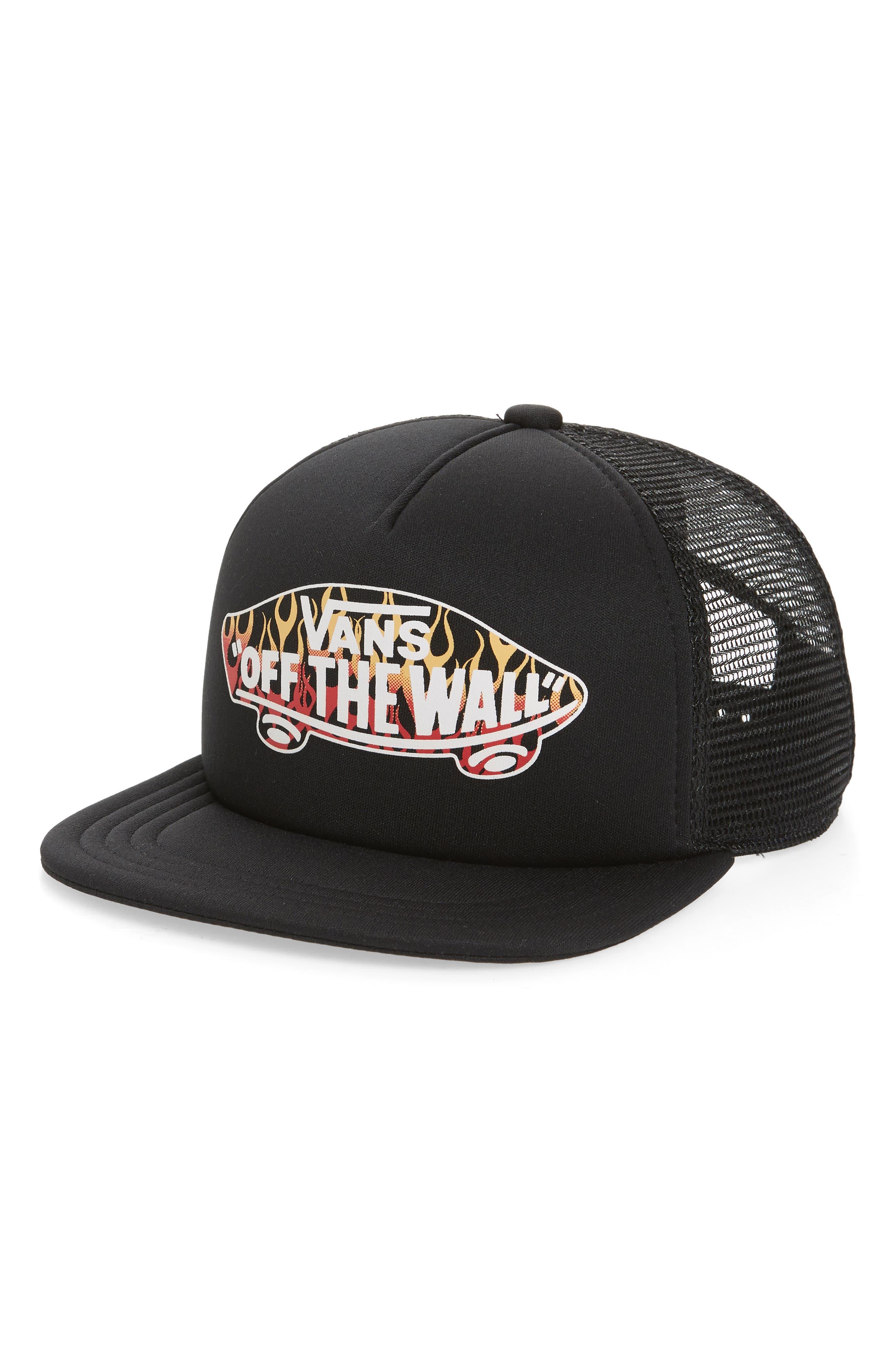 VANS Classic Logo Print Trucker Hat, Main, color, BLACK/ FLAMES