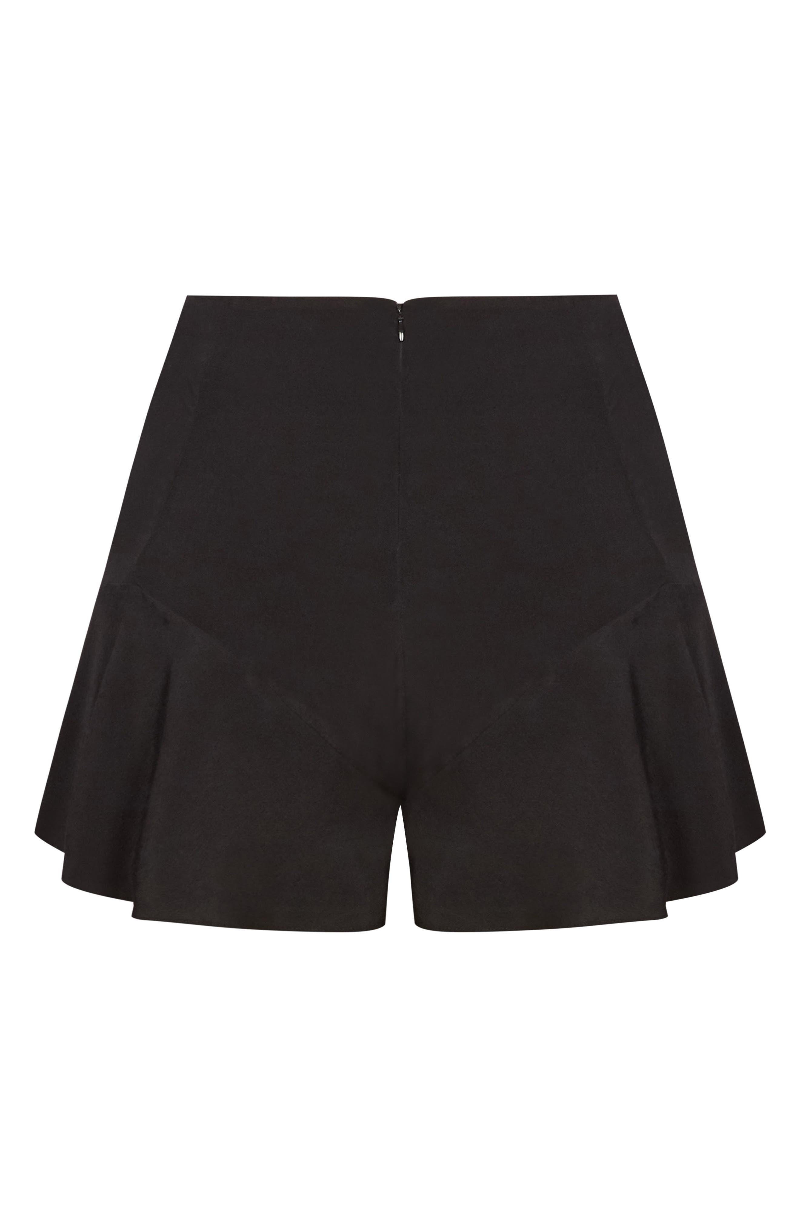 CITY CHIC,                             High Rise Ruffle Hem Shorts,                             Alternate thumbnail 3, color,                             014