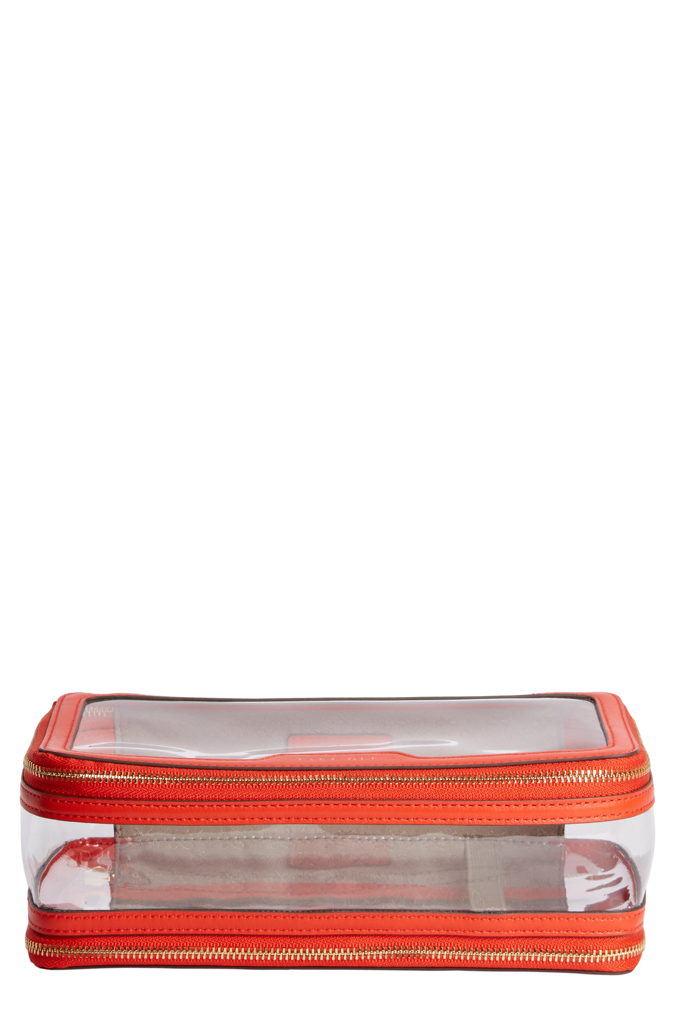 Inflight Clear Cosmetics Case in Clear/ Flame Red