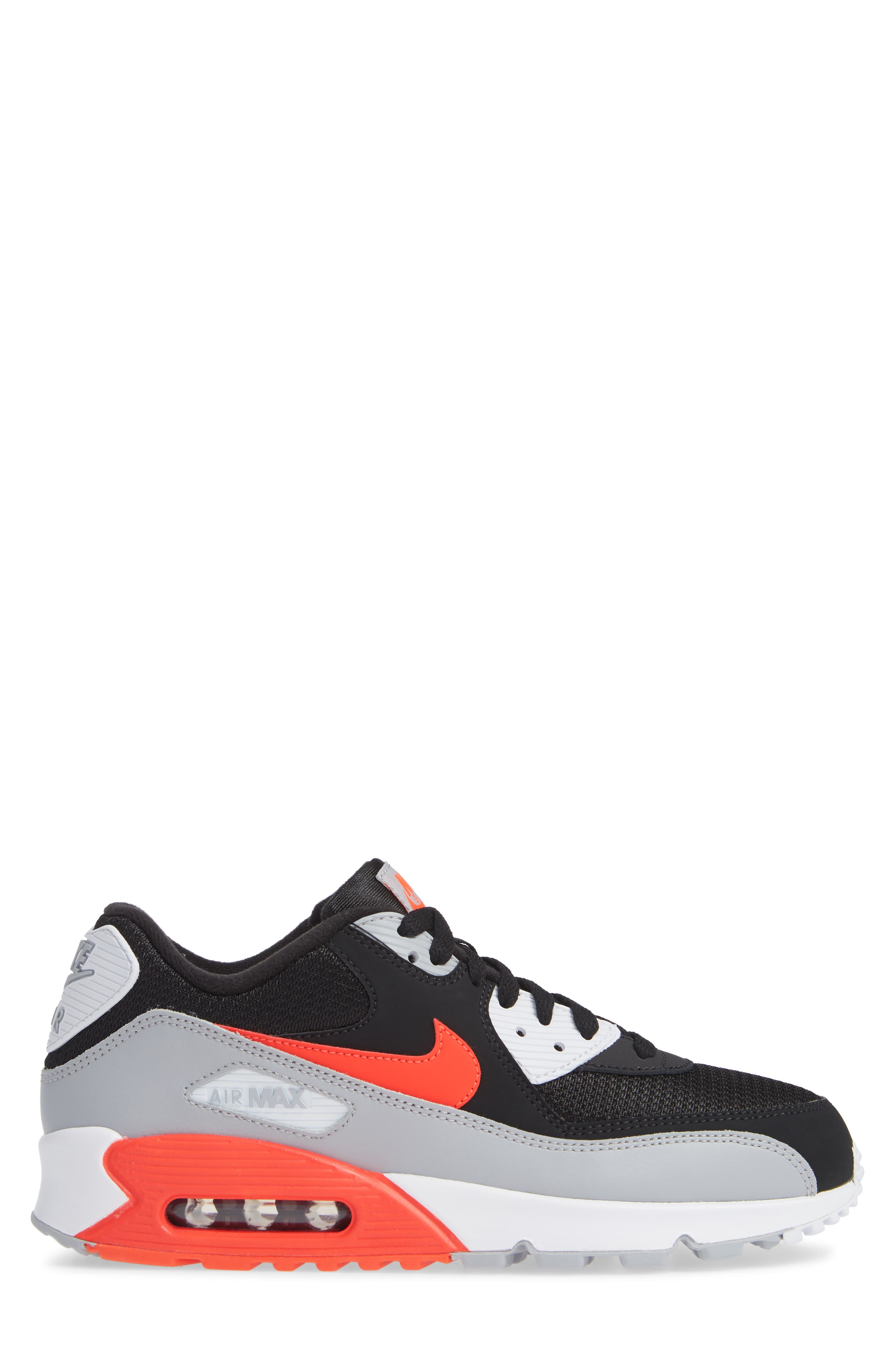 Air Max 90 Essential Sneaker,                             Alternate thumbnail 3, color,                             WOLF GREY/ CRIMSON/ BLACK