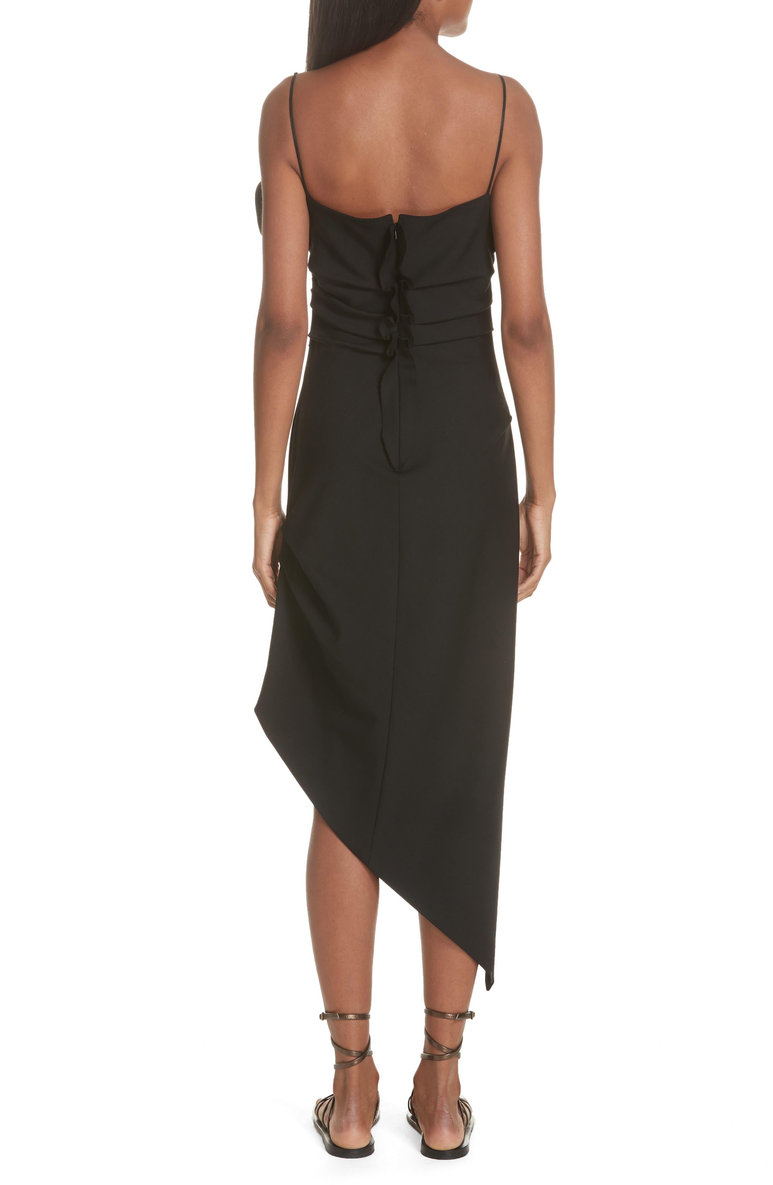 Ruffle Neck Asymmetrical Dress,                             Alternate thumbnail 2, color,                             BLACK
