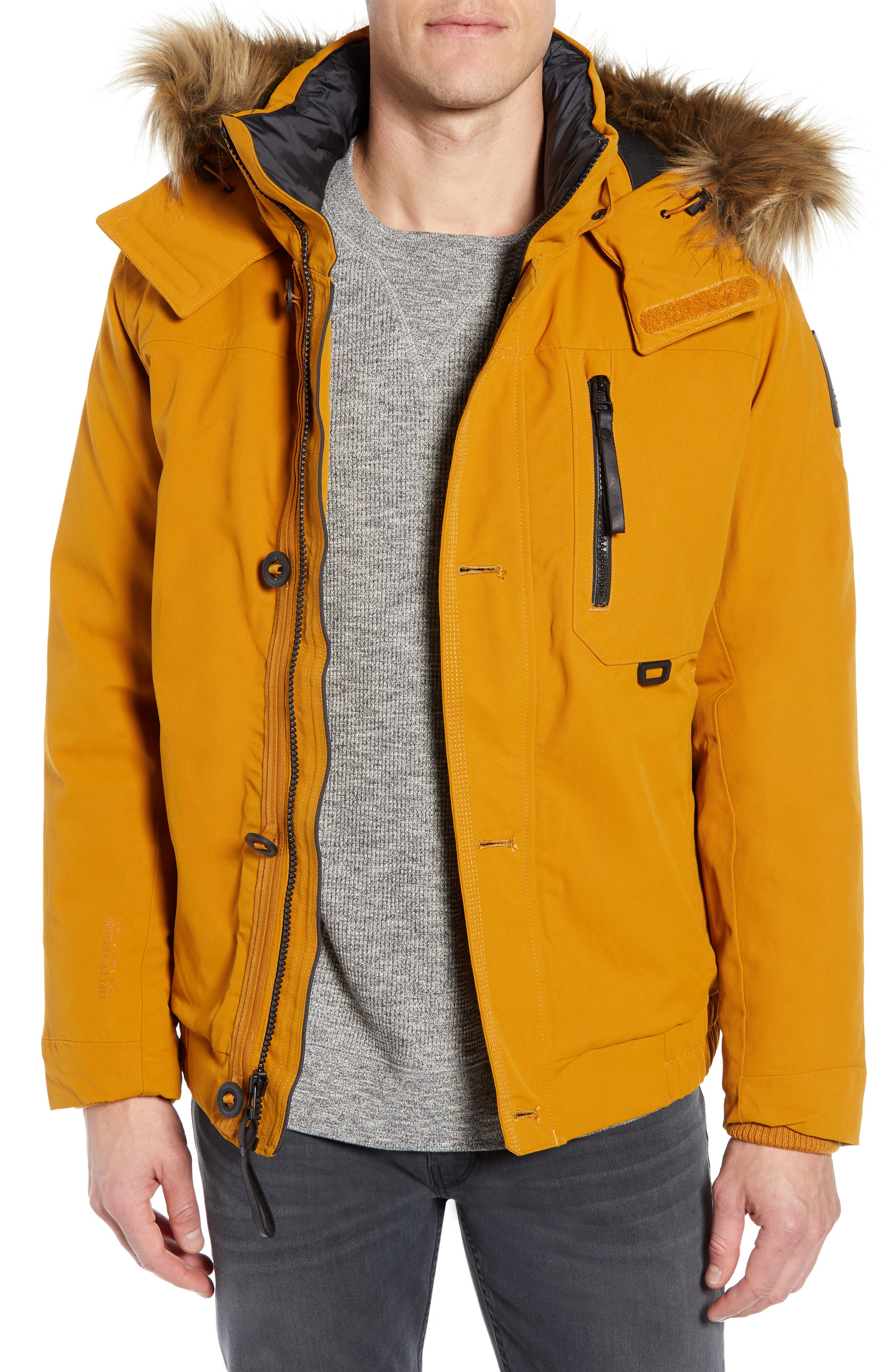 Helly Hansen Bardu Waterproof Bomber Jacket With Detachable Hood And Faux Fur Trim, Yellow