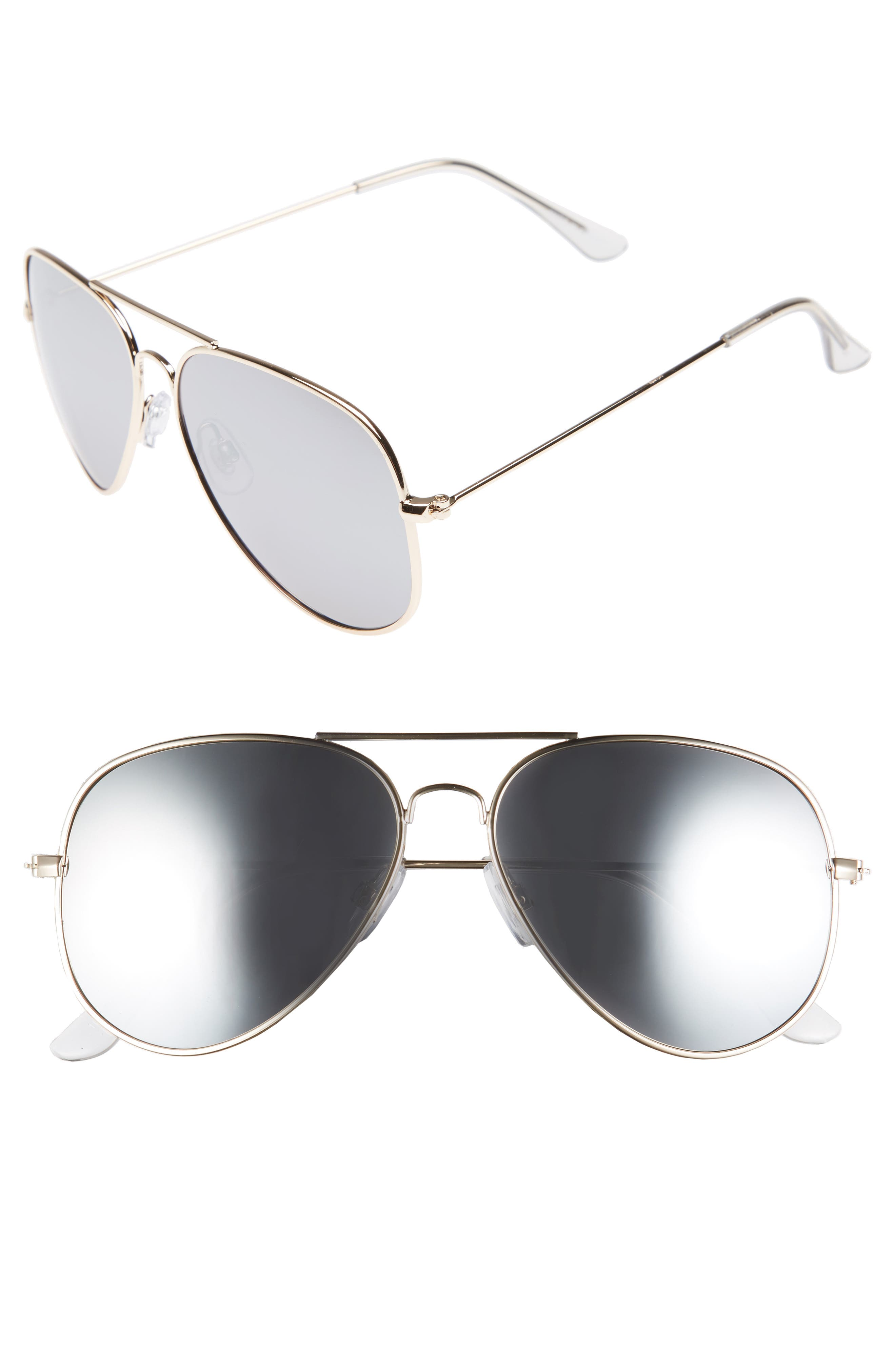 Mirrored Aviator 57mm Sunglasses,                             Main thumbnail 7, color,
