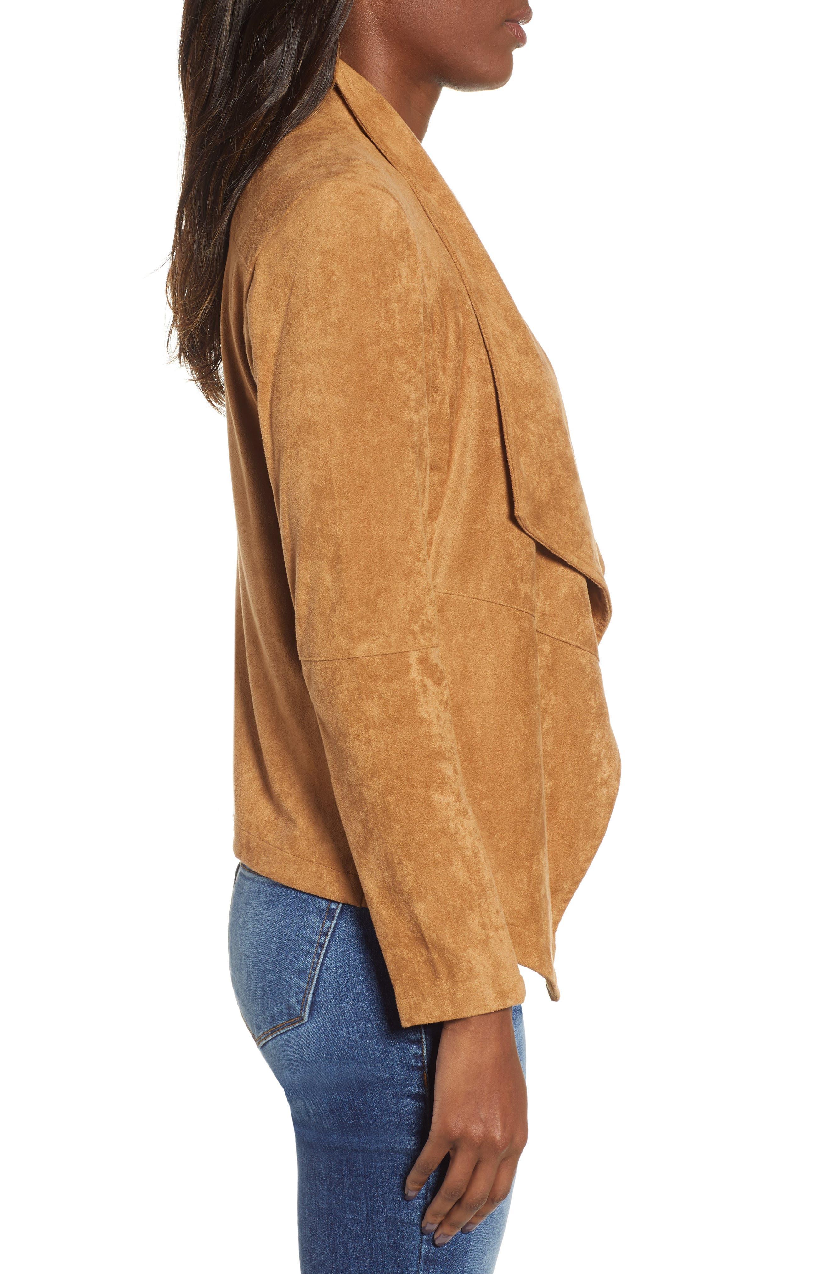 BB DAKOTA,                             Nicholson Faux Suede Drape Front Jacket,                             Alternate thumbnail 4, color,                             WHISKEY