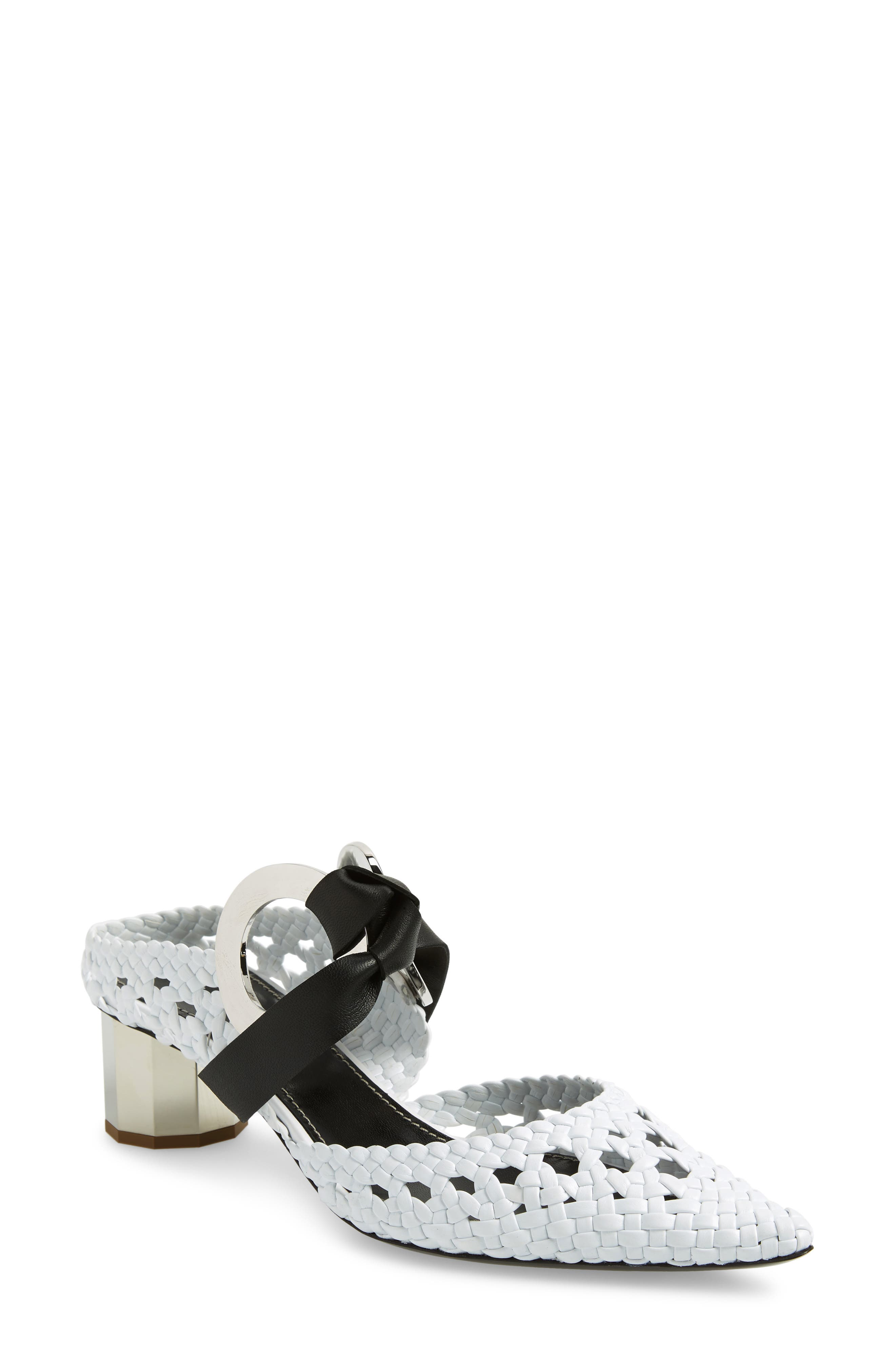 Grommet Woven Pointy Toe Mule, Main, color, WHITE