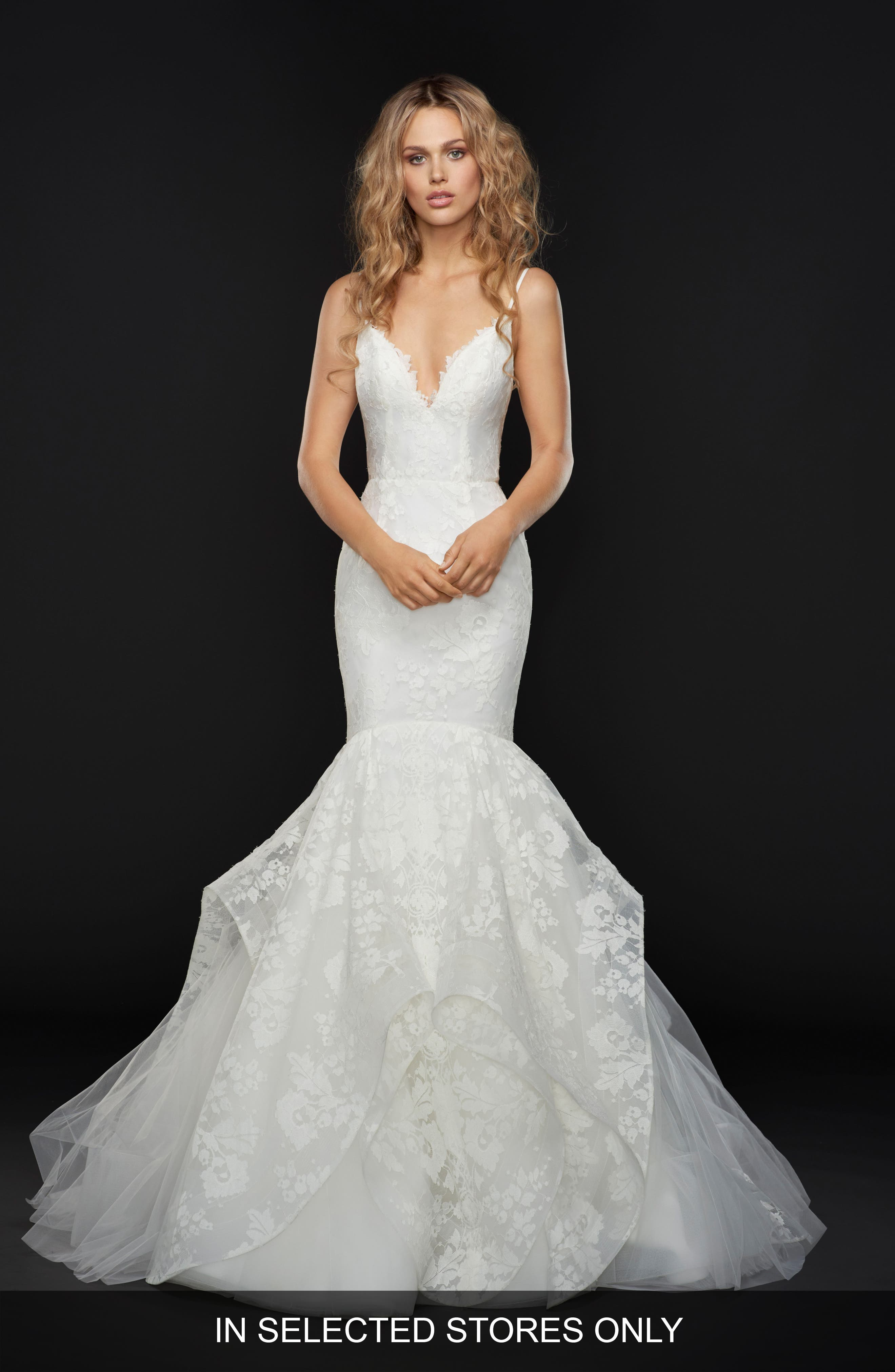 Park Spaghetti Strap Lace Mermaid Gown,                             Main thumbnail 1, color,                             IVORY