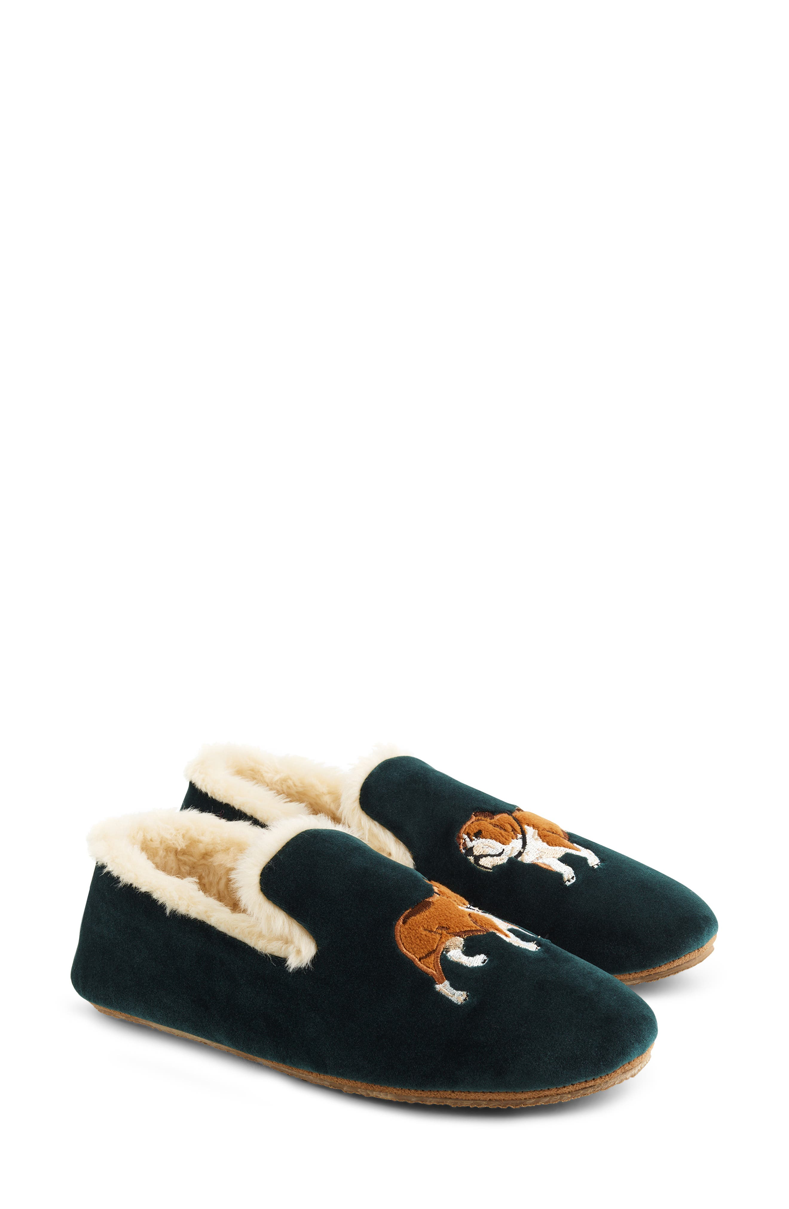 Dog Embroidered Faux Shearling Loafer Slipper,                             Main thumbnail 1, color,                             ACADEMIC GREEN VELVET