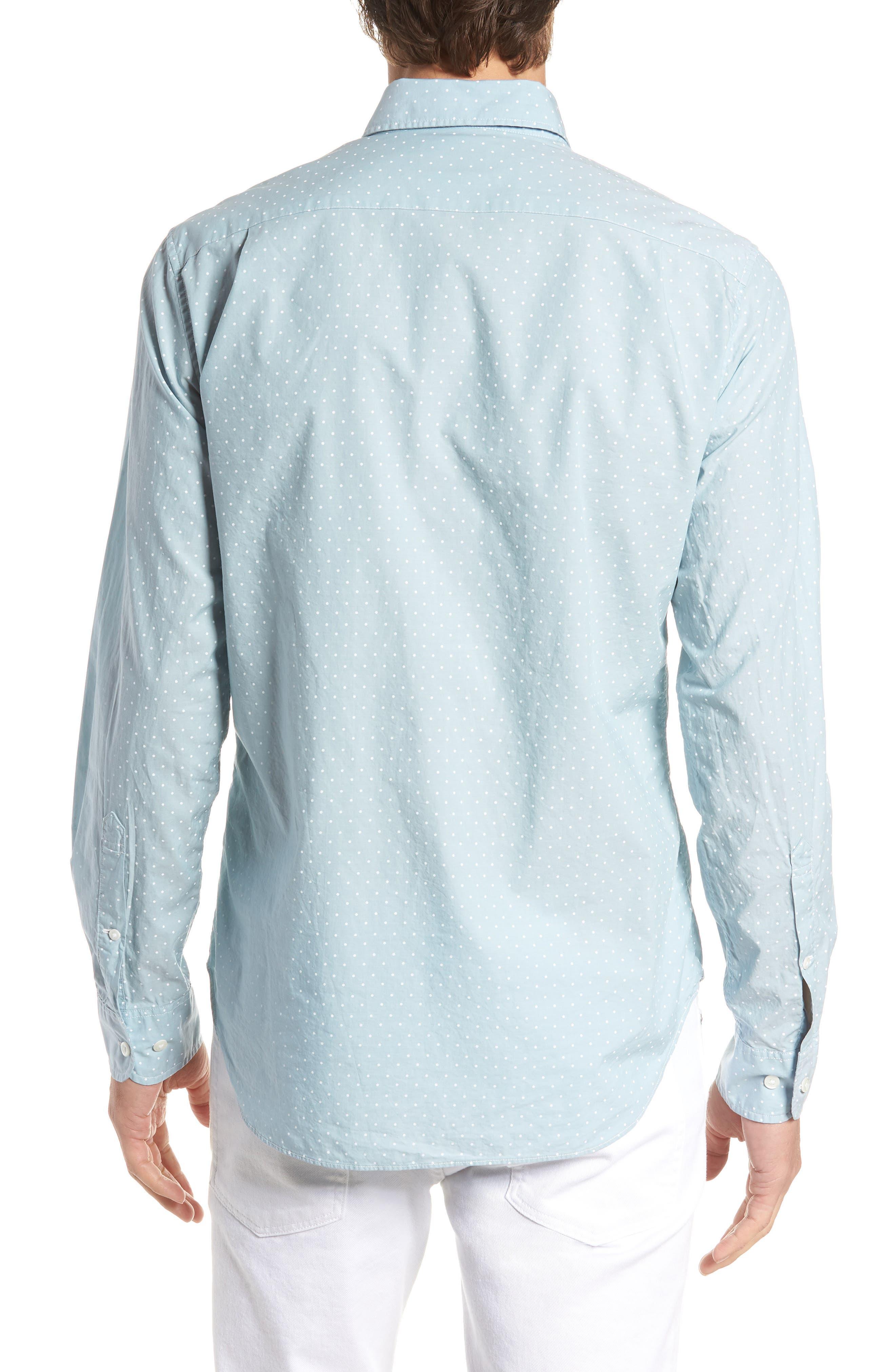 Summerweight Slim Fit Dot Sport Shirt,                             Alternate thumbnail 3, color,                             400