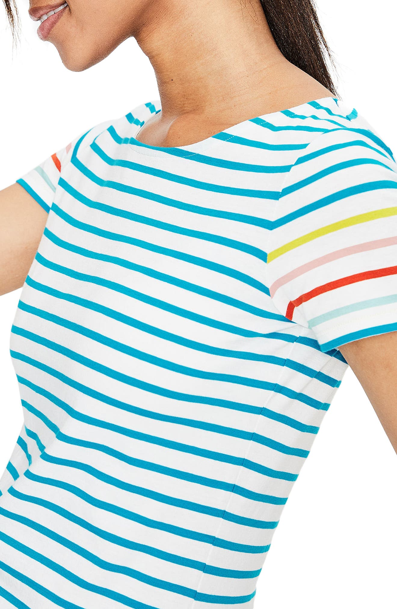 Breton Short Sleeve Stripe Cotton Top,                             Alternate thumbnail 3, color,                             454