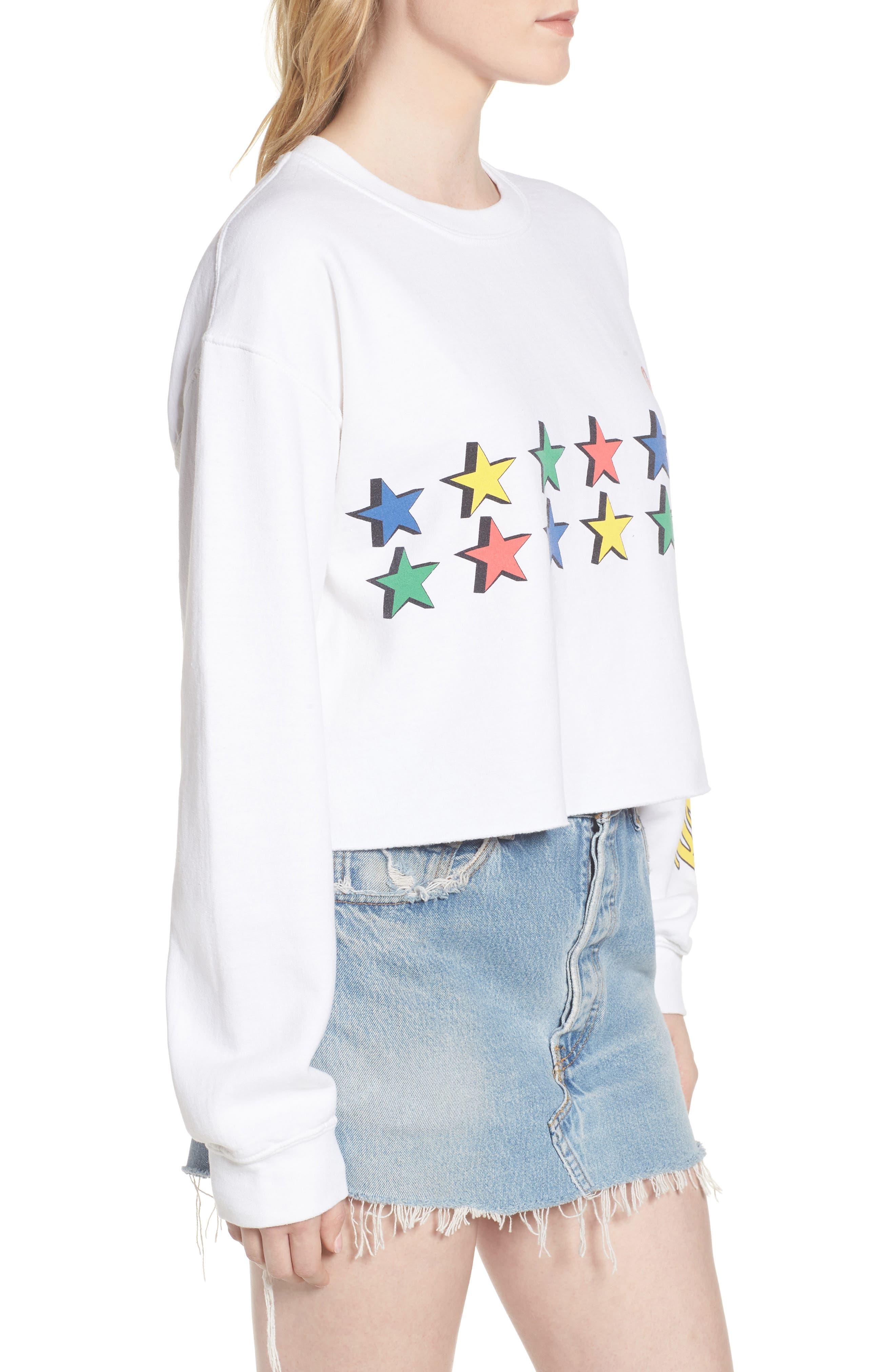 Coke Stars Crop Sweatshirt,                             Alternate thumbnail 3, color,
