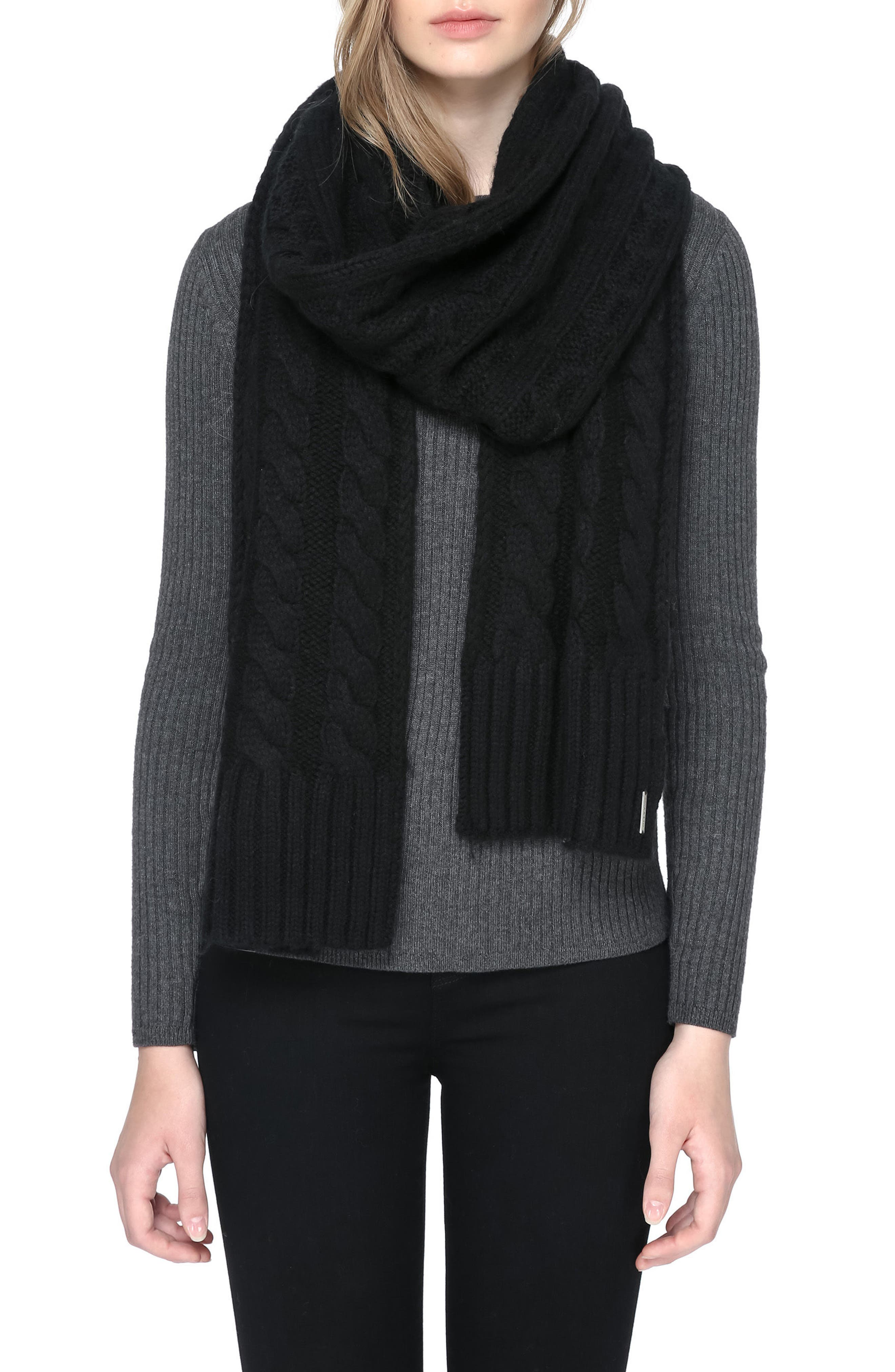 Cable Knit Scarf,                         Main,                         color, 001