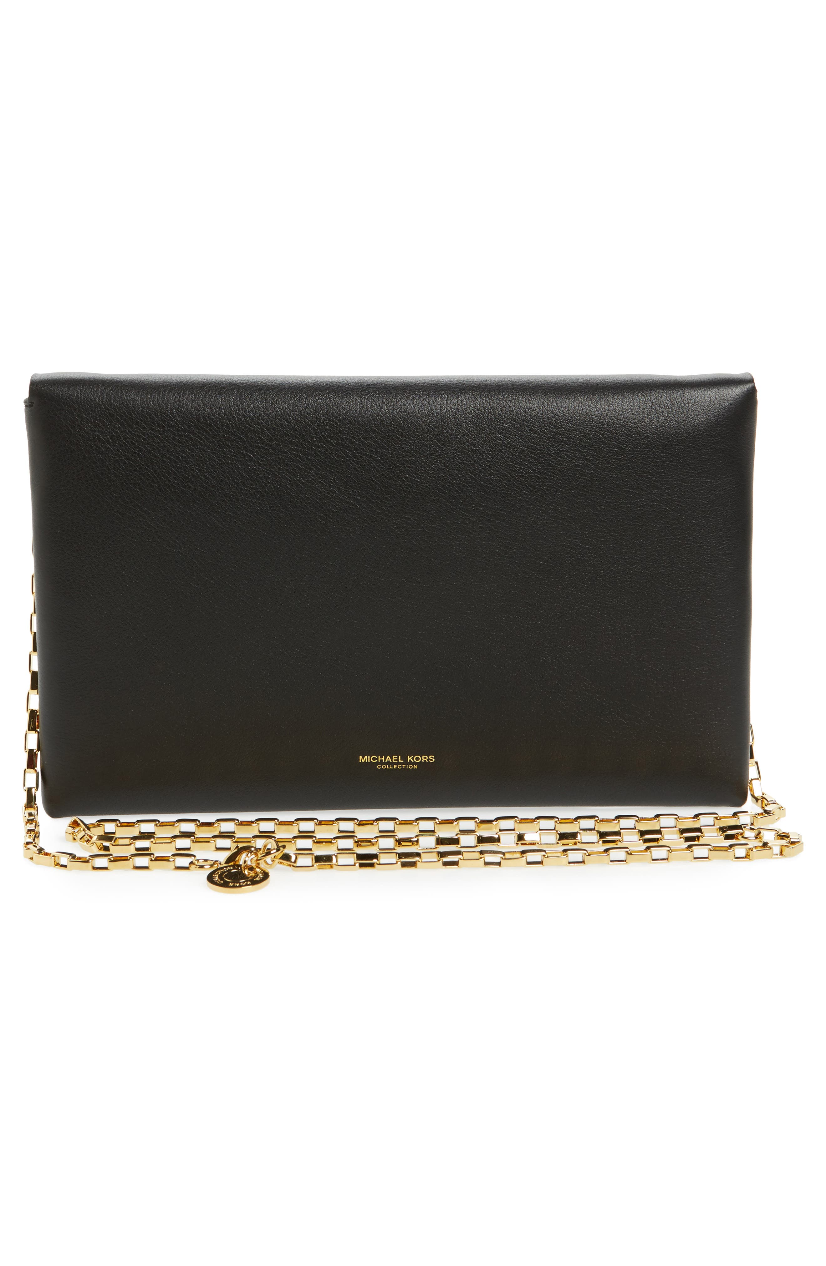 Small Calfskin Leather Envelope Clutch,                             Alternate thumbnail 3, color,                             001